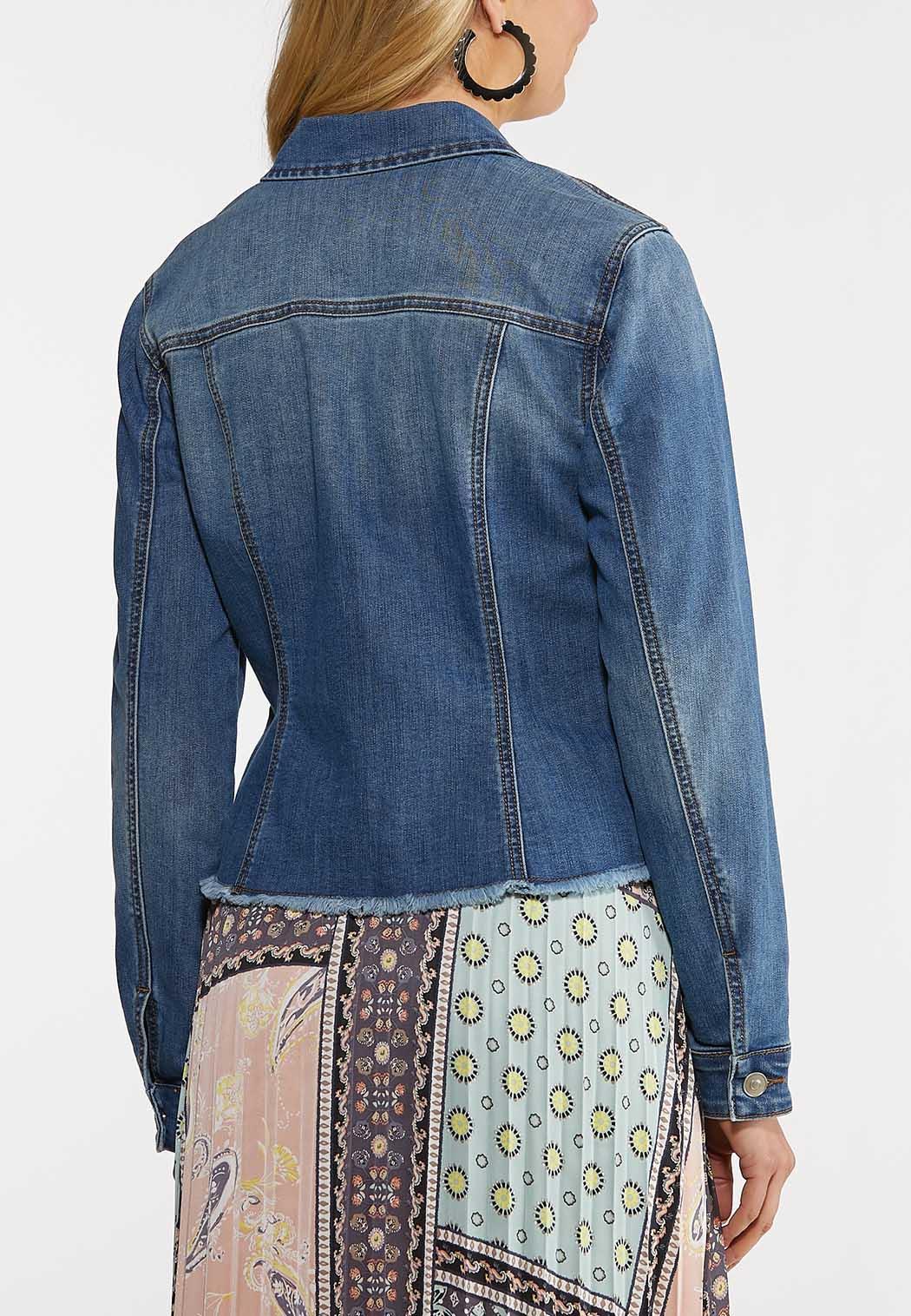 Plus Size Frayed Denim Jacket (Item #44183818)