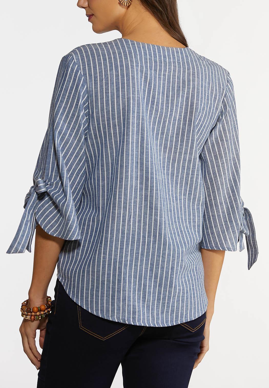 Plus Size Stripe Tie Sleeve Shirt (Item #44183990)
