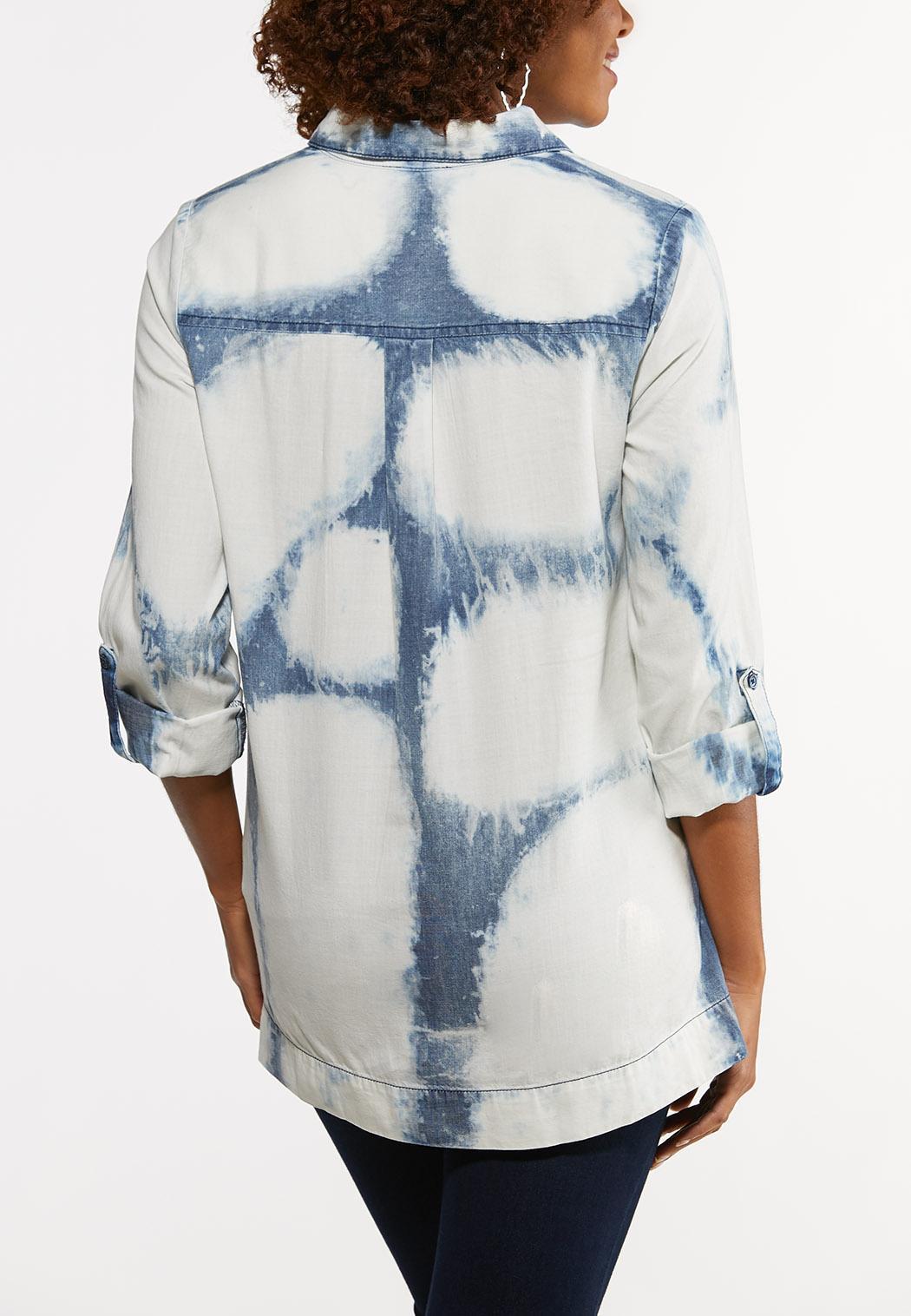 Plus Size Tie Dye Utility Shirt (Item #44184063)