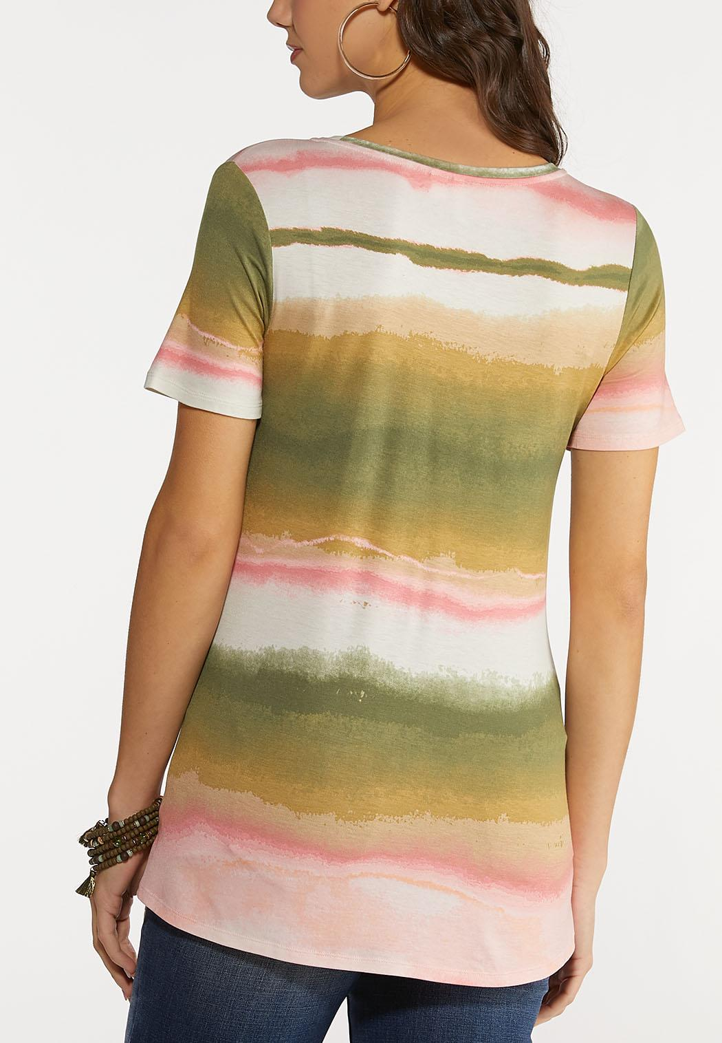 Plus Size Dip Dye Ruched Stripe Top (Item #44184308)