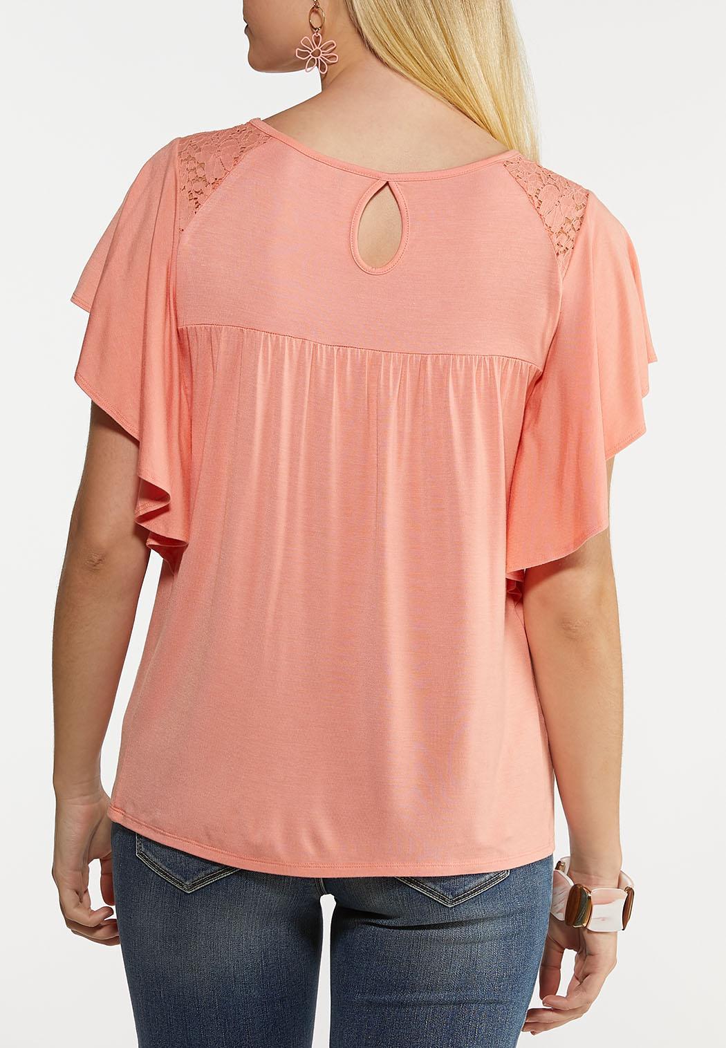 Smocked Flutter Sleeve Top (Item #44184316)