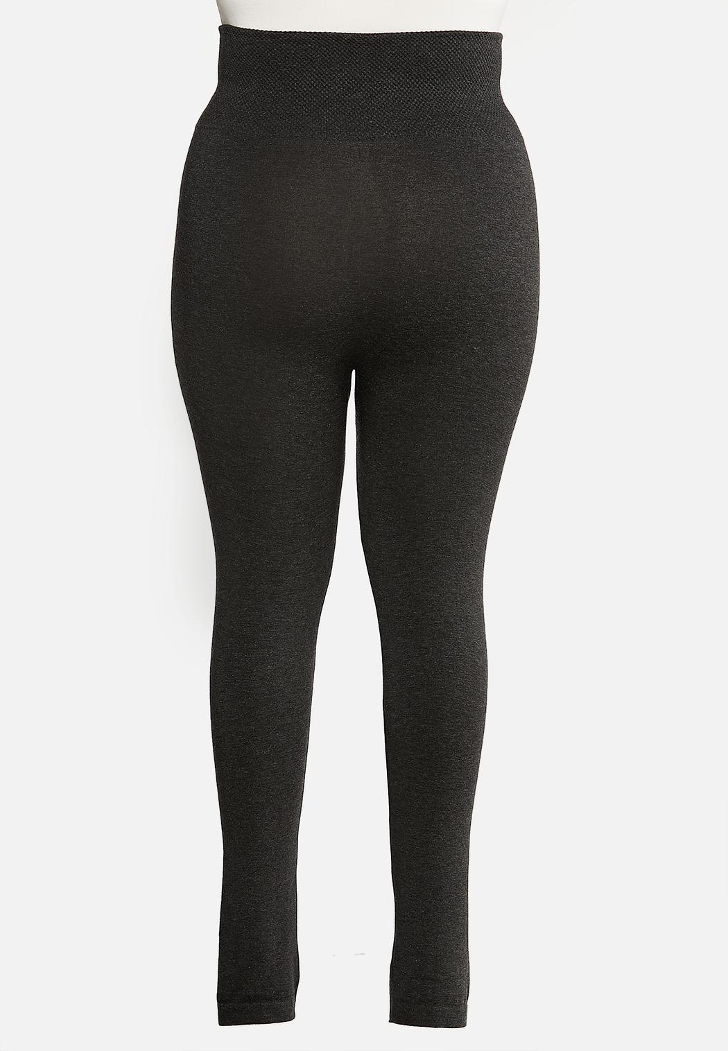 Plus Size Charcoal Fleece Leggings (Item #44184679)