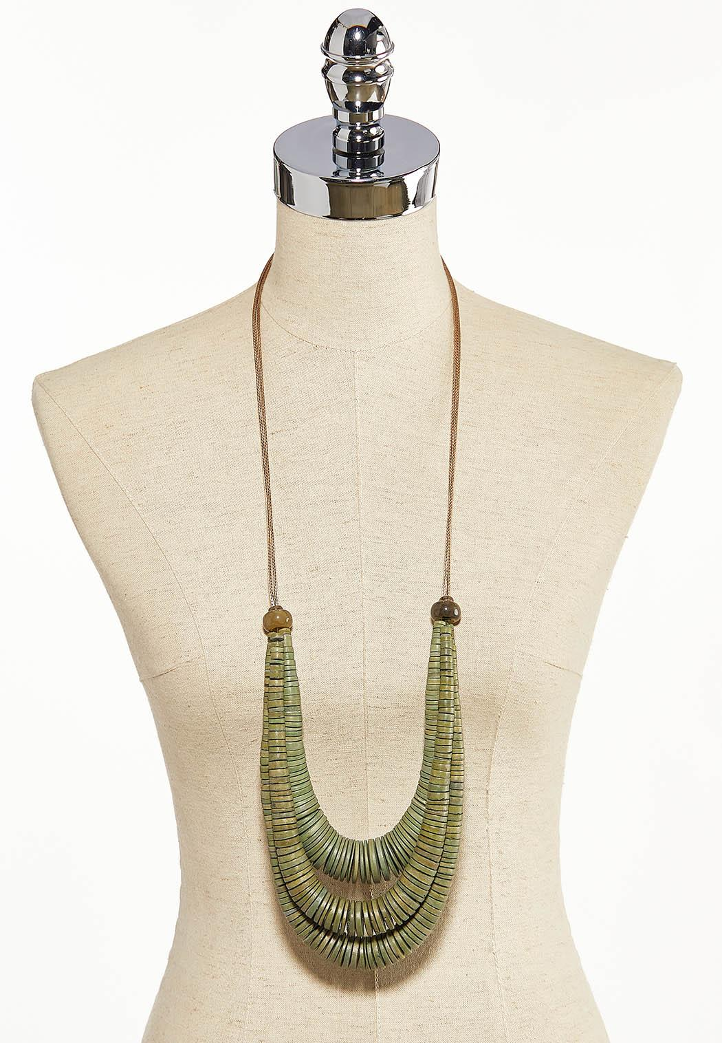Olive Wooden Cord Necklace (Item #44184689)