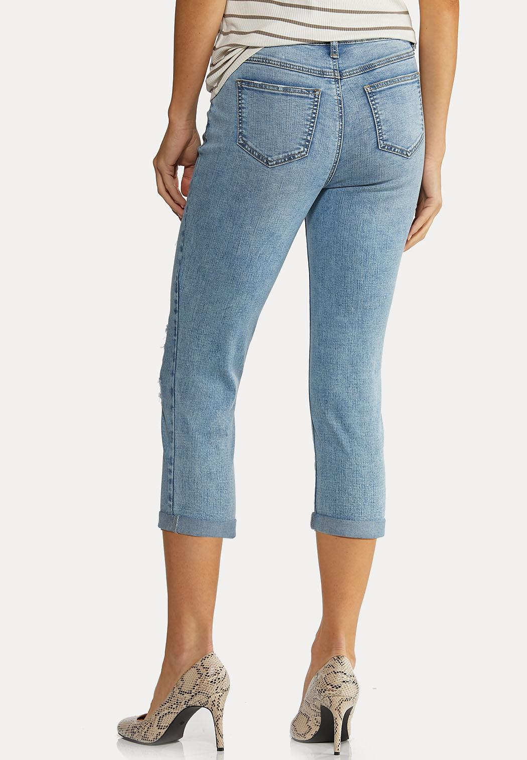 Cropped Distressed Jeans (Item #44184810)