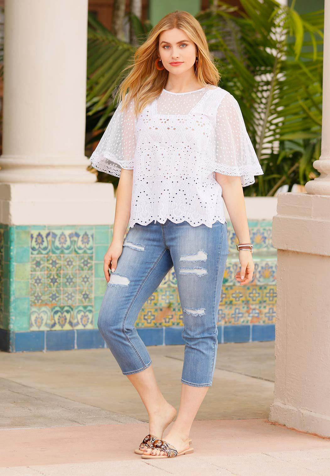 Plus Size Cropped Distressed Jeans (Item #44184870)