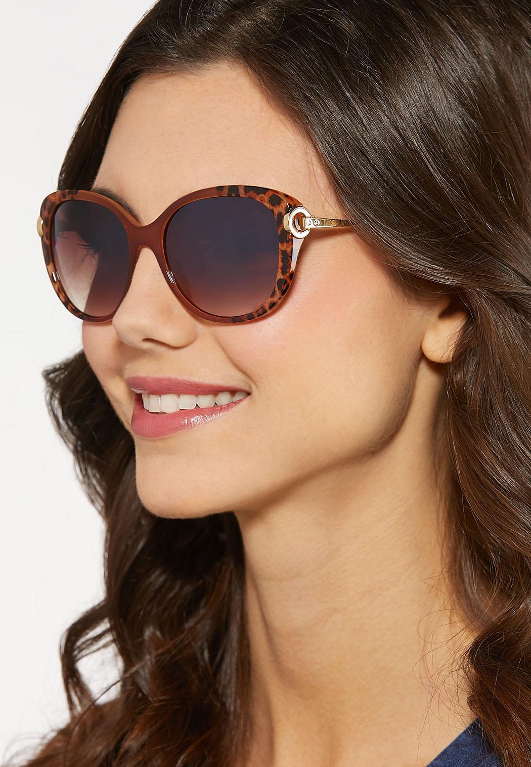 Leopard Trim Square Sunglasses (Item #44184879)