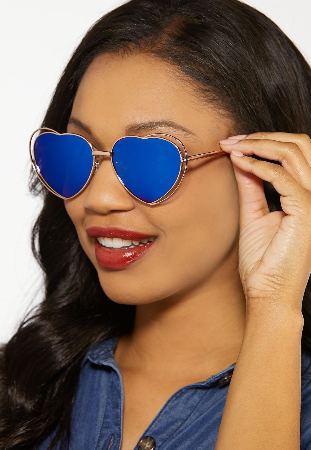 Gold Heart Aviator Sunglasses (Item #44185424)