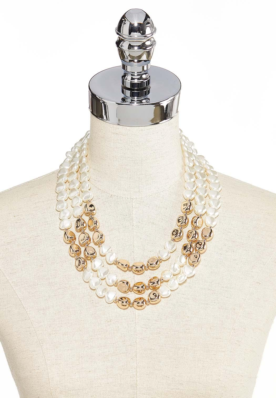 Ivory And Gold Pearl Bib Necklace (Item #44185540)