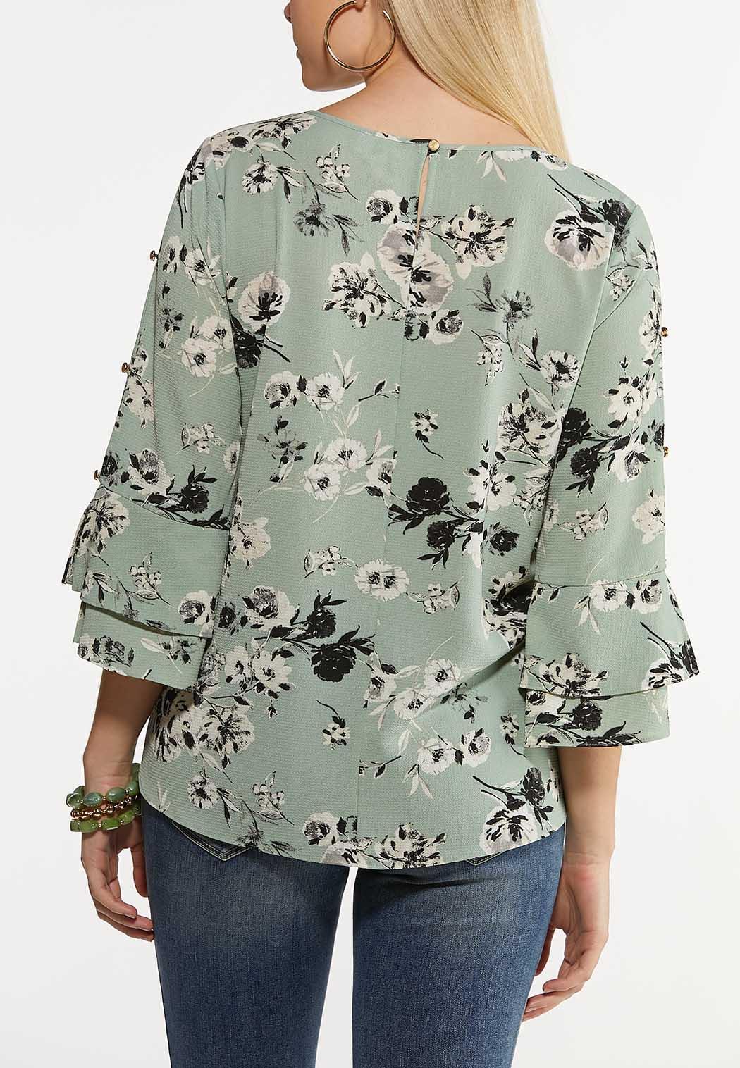 Plus Size Mint Floral Top (Item #44185593)