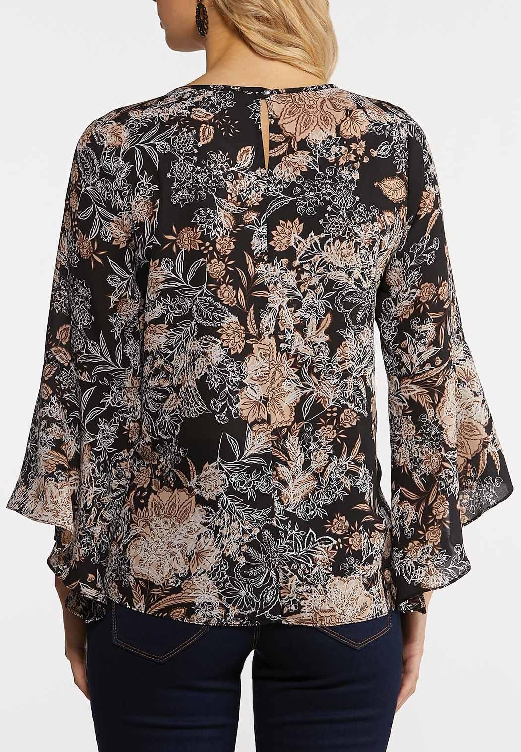 Plus Size Neutral Floral Top (Item #44185698)