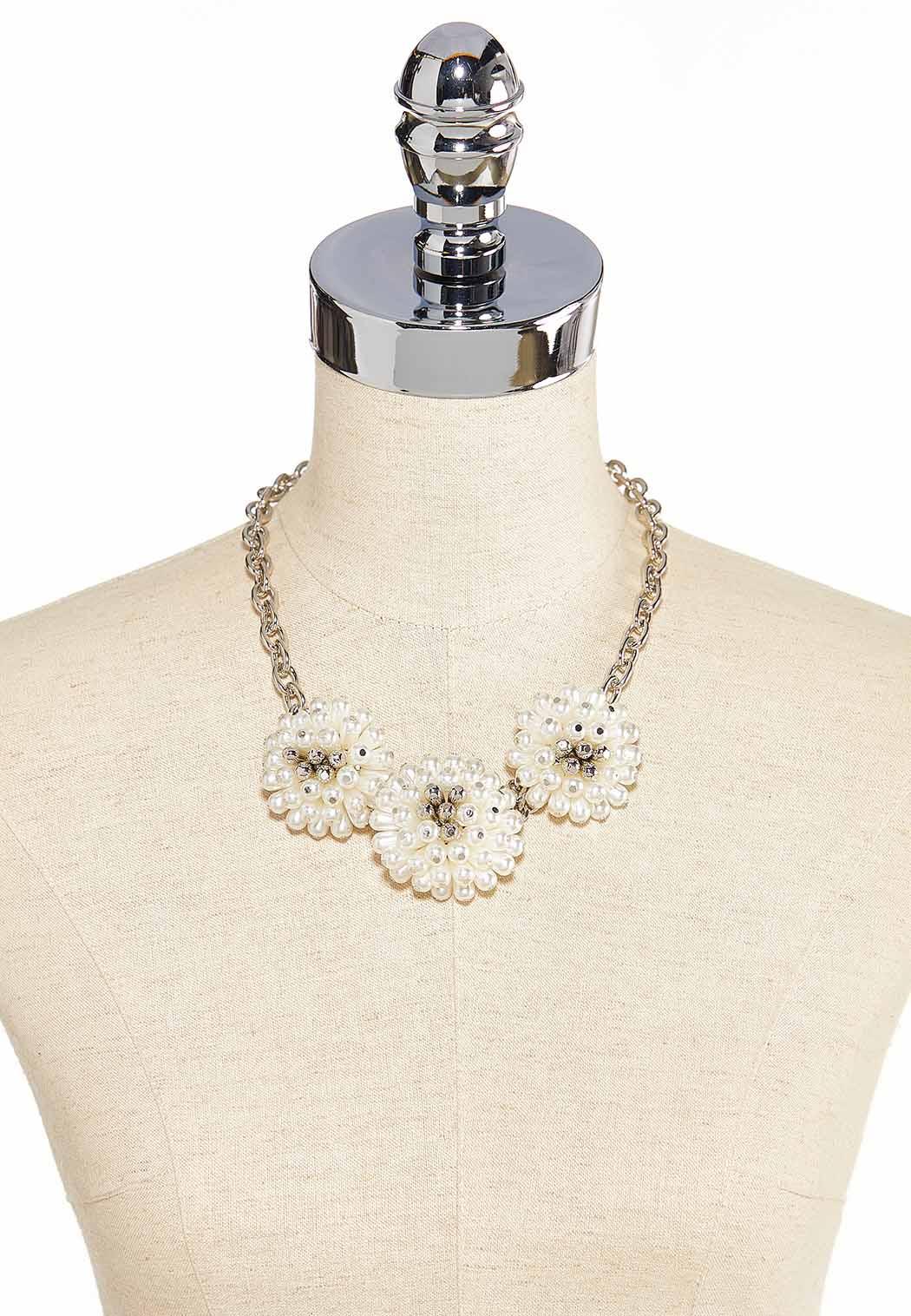 Flower Pearl Bib Necklace (Item #44186455)