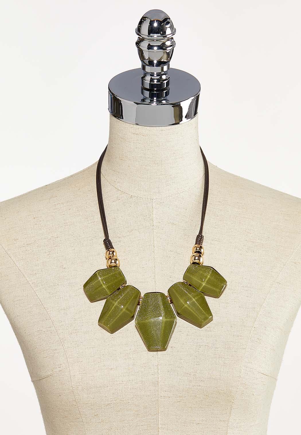 Olive Resin Charm Bib Necklace (Item #44186583)