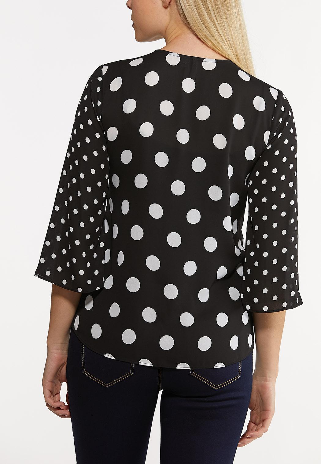 Plus Size Black And White Polka Dot Shirt (Item #44186625)