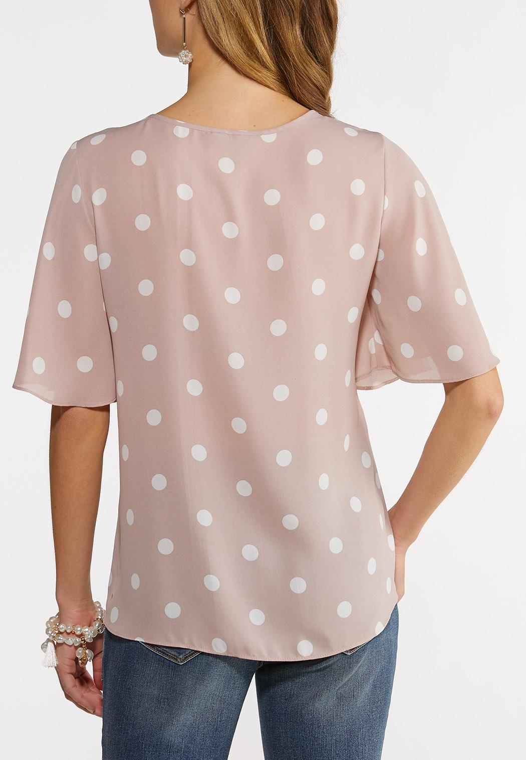 Plus Size Polka Dot Button Top (Item #44186852)