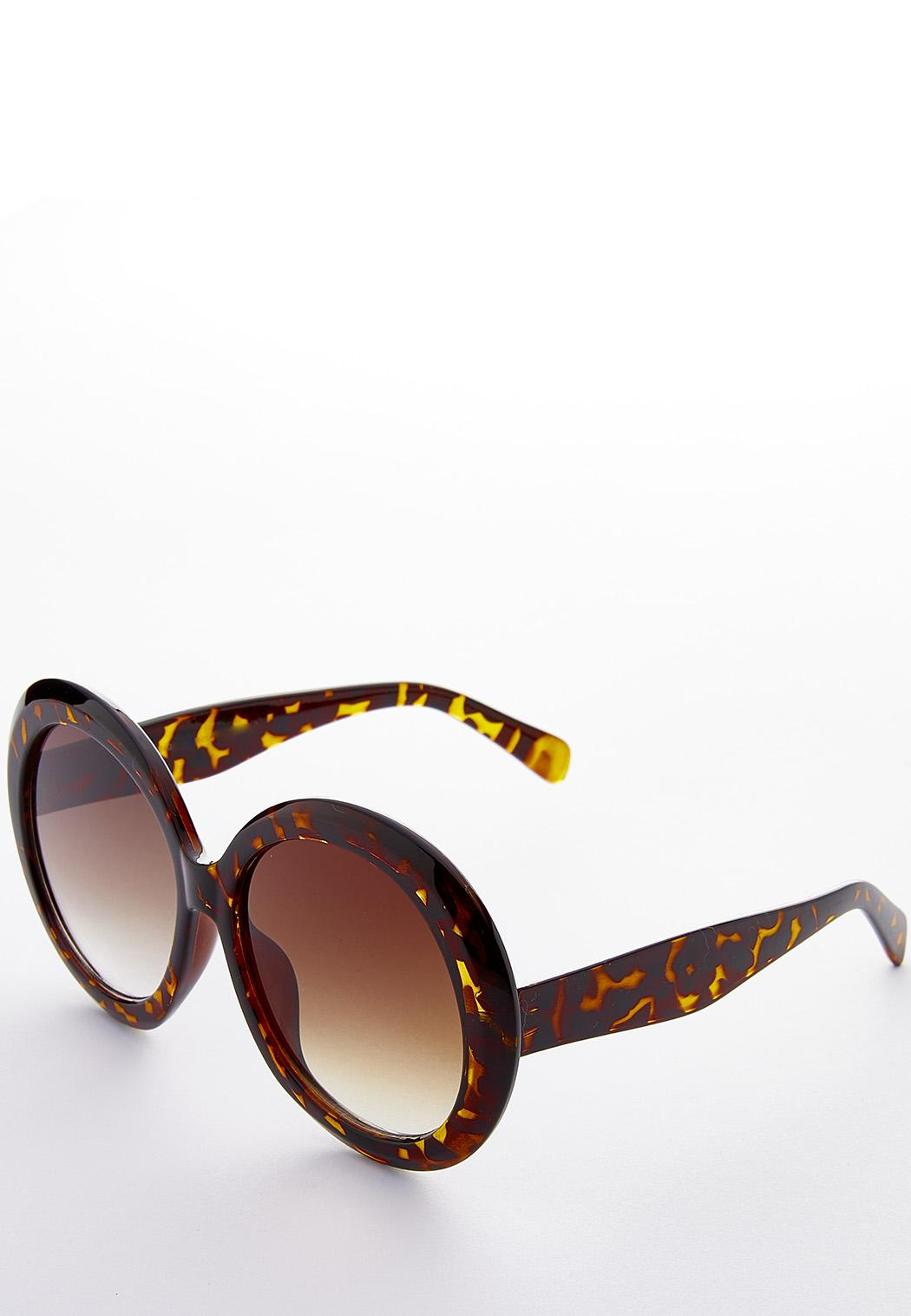 Oversized Round Tortoise Sunglasses (Item #44187004)