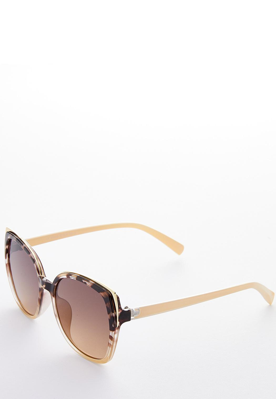 Tortoise Brow Square Sunglasses (Item #44187109)