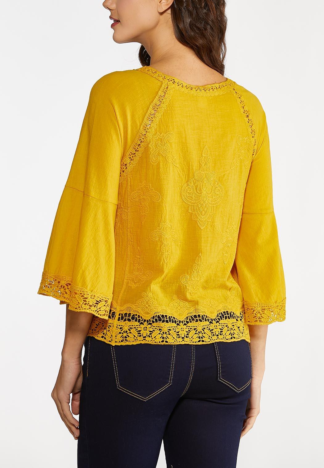 Plus Size Gold Crochet Trim Top (Item #44188022)