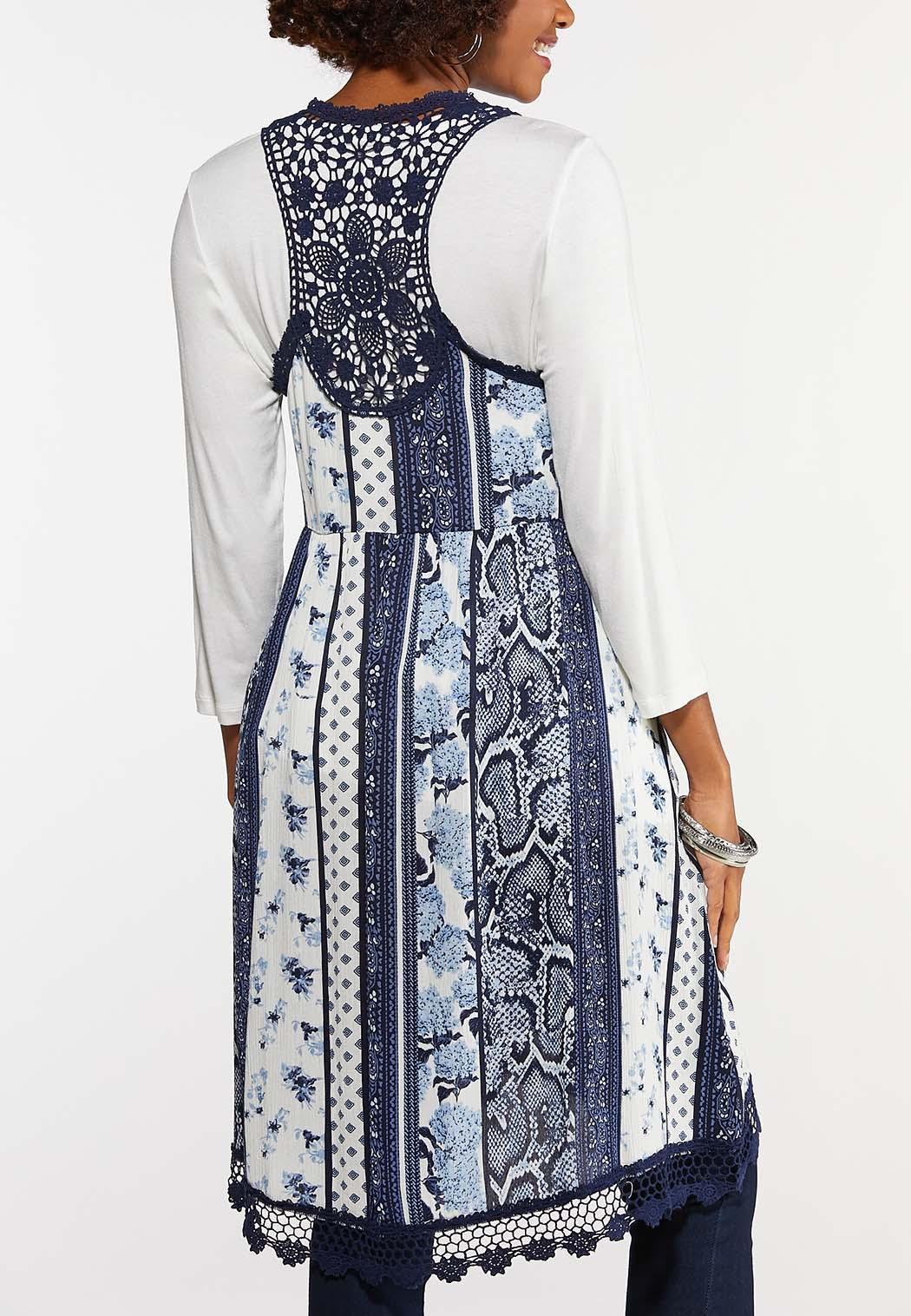 Plus Size Patchwork Crochet Trim Vest (Item #44188274)