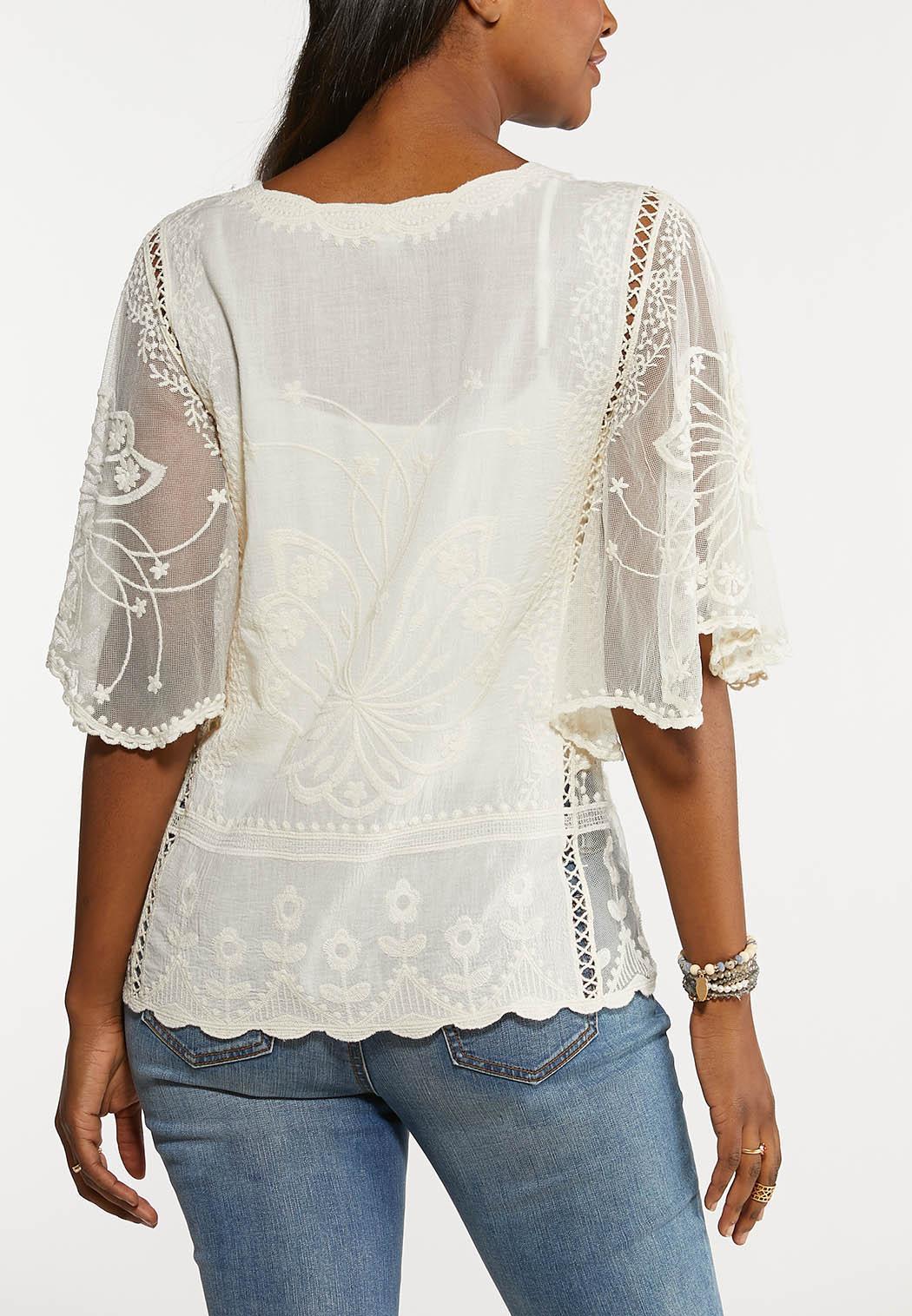 Plus Size Ivory Angel Sleeve Top (Item #44188510)