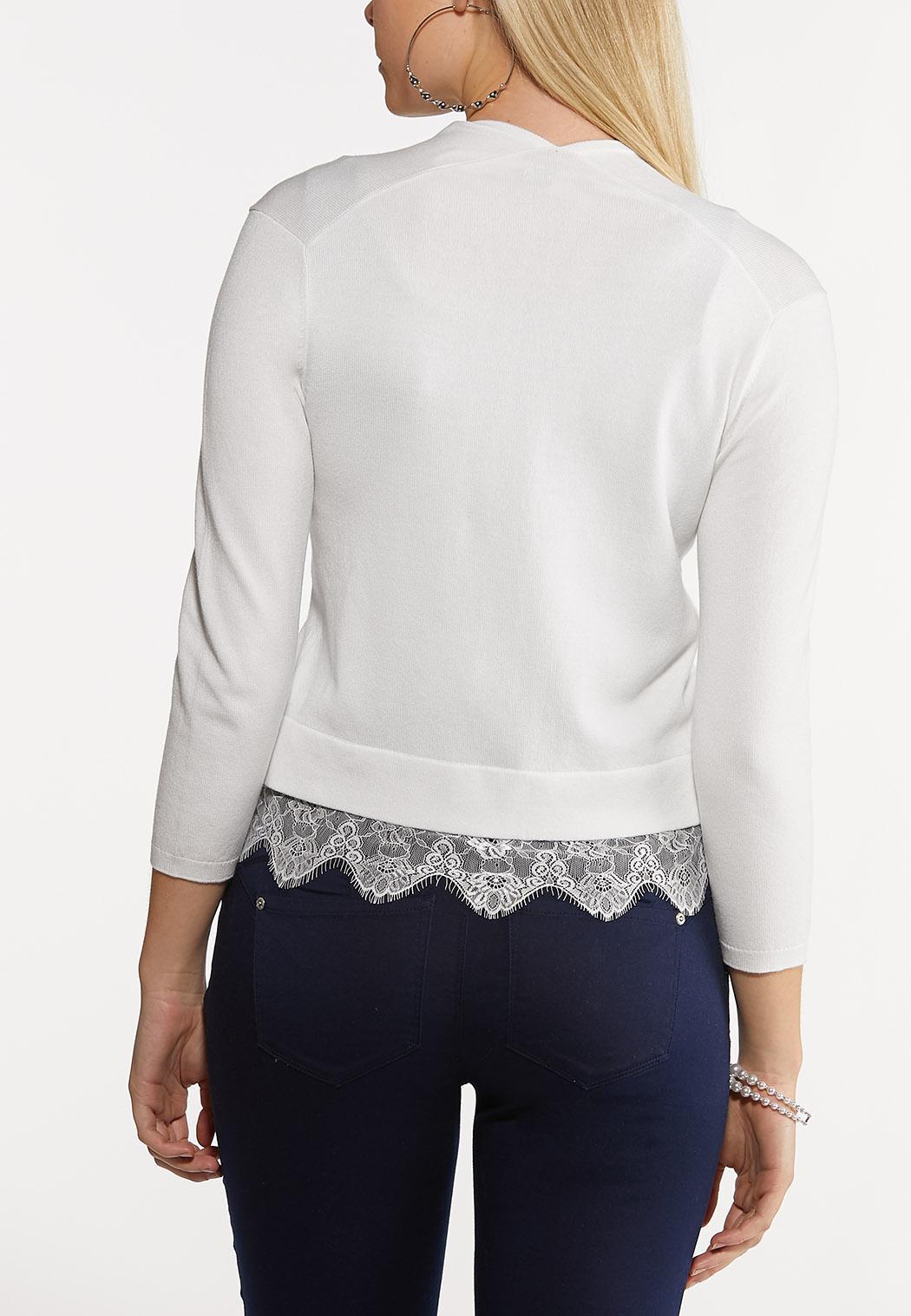 Plus Size Lace Trim Shrug (Item #44188667)