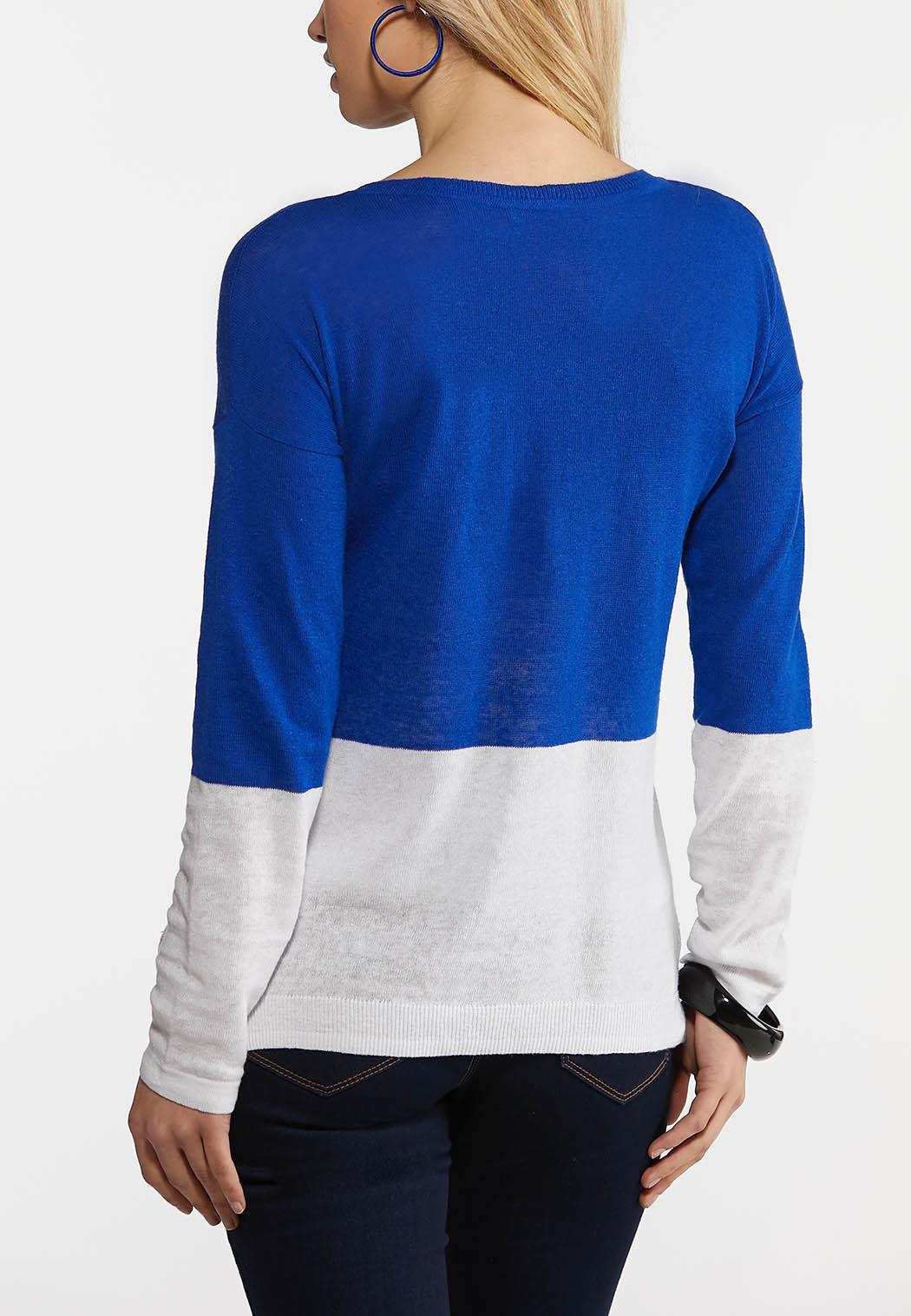 Blue Colorblock Linen Sweater (Item #44188856)