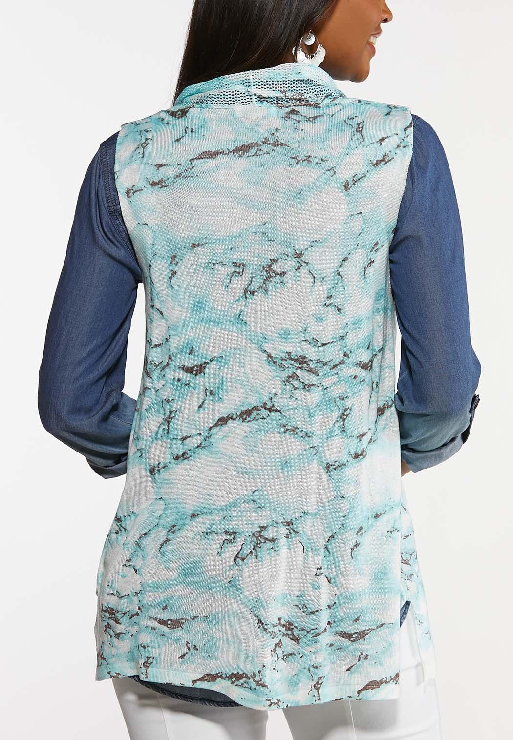 Plus Size Turquoise Marbled Vest (Item #44189101)