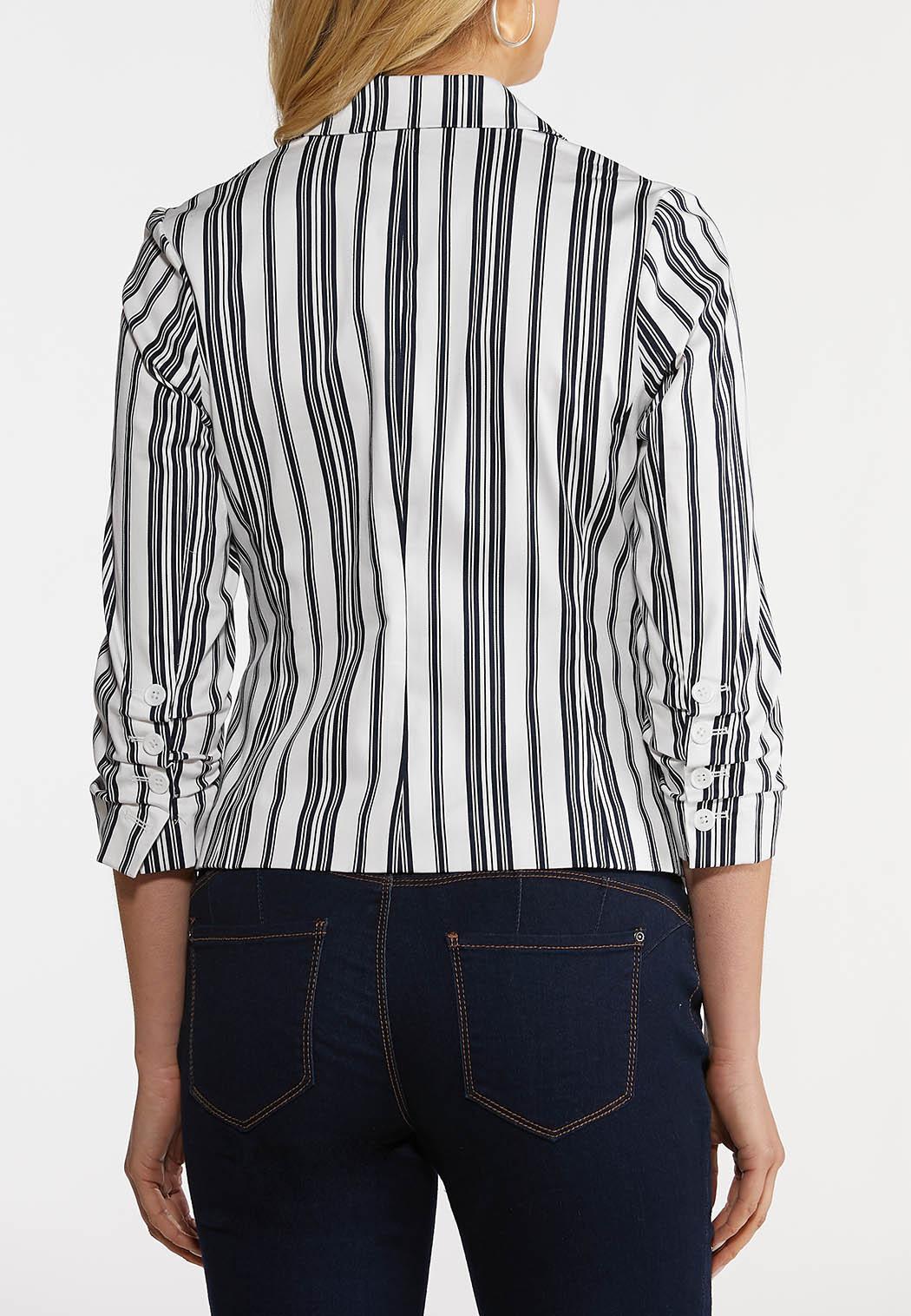 Plus Size Navy Stripe Sateen Blazer (Item #44189185)