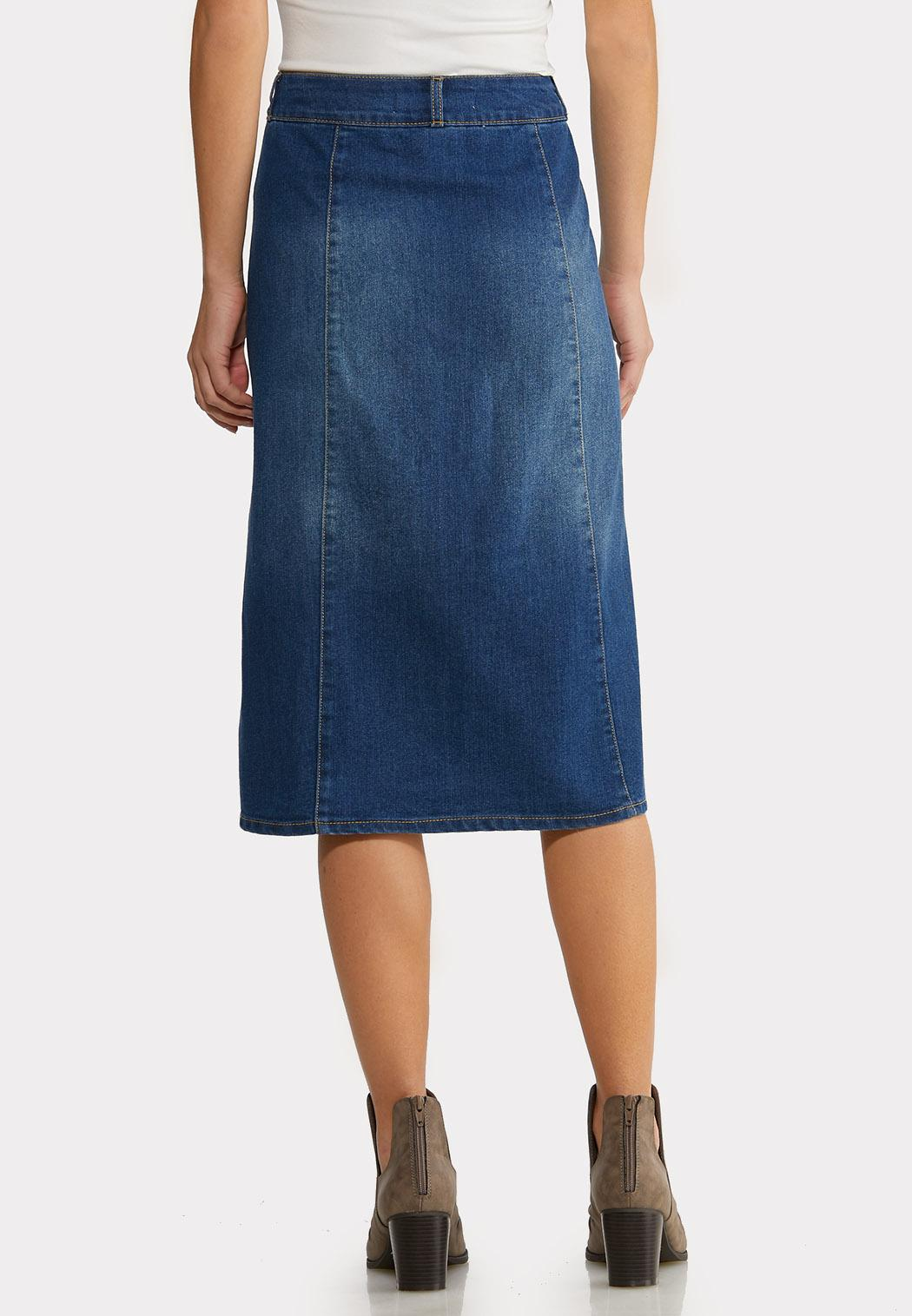 Button Front Denim Midi Skirt (Item #44189200)