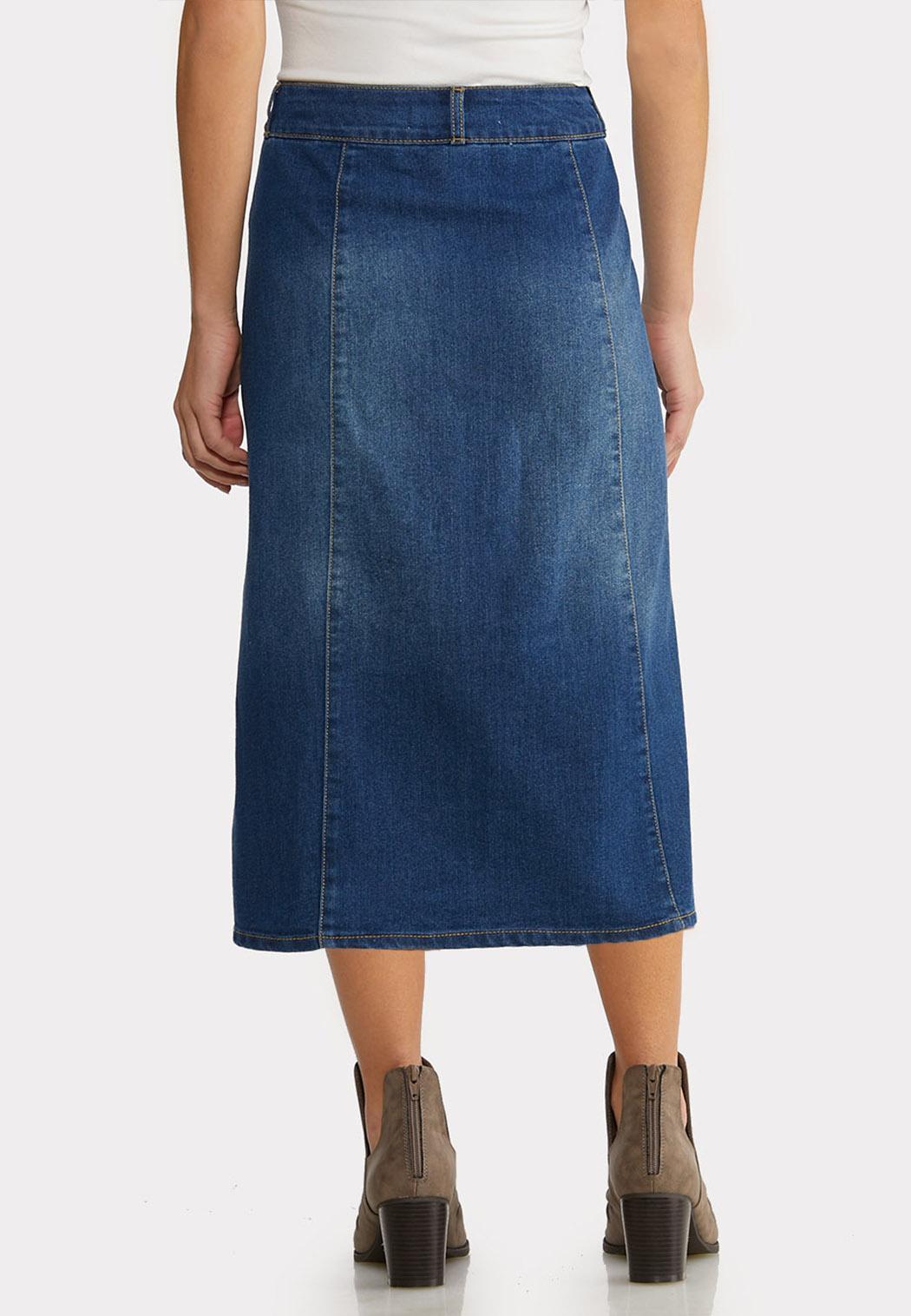 Plus Size Button Front Denim Midi Skirt (Item #44189242)