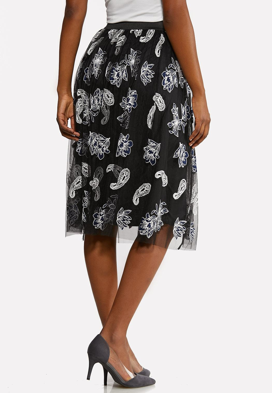 Plus Size Floral Mesh Skirt (Item #44189514)