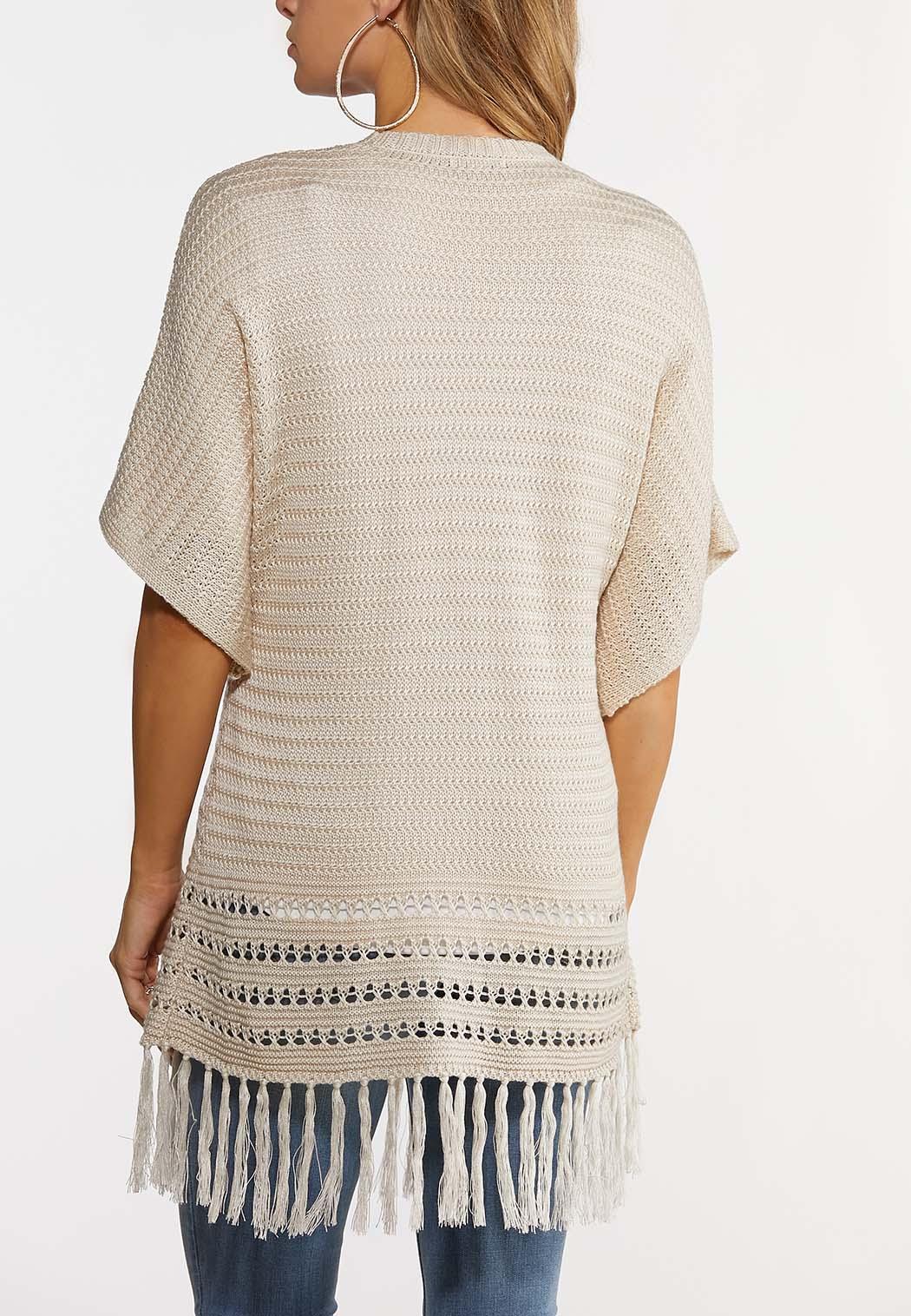 Plus Size Fringed Cardigan Sweater (Item #44189808)