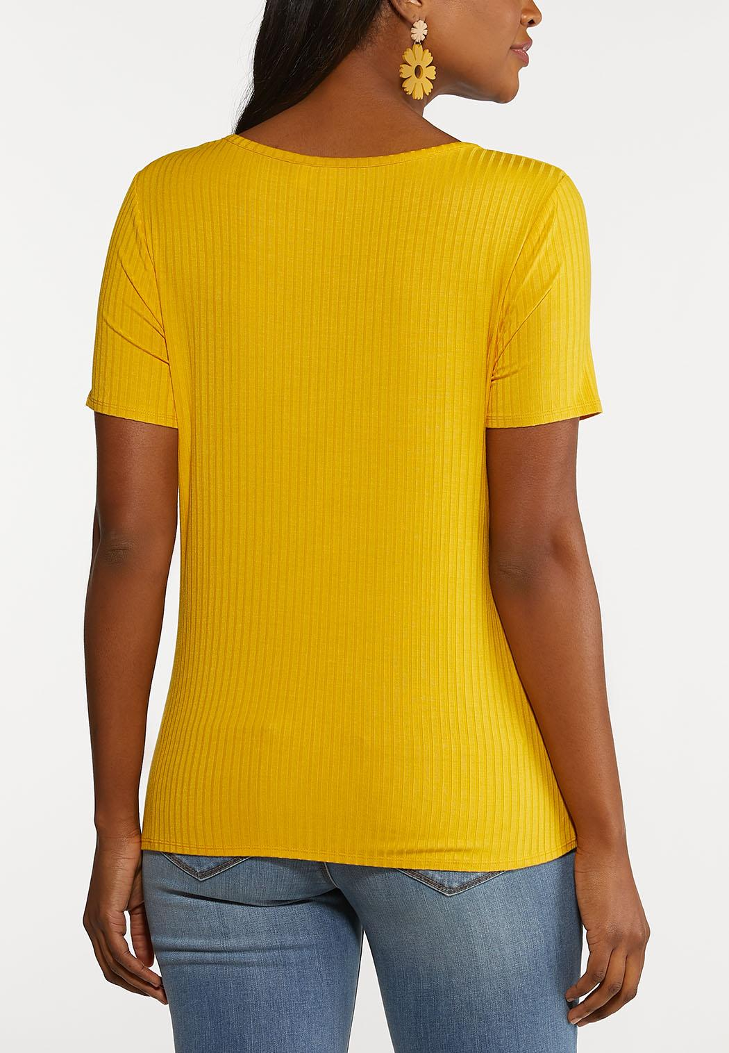 Plus Size Ribbed Twisted Tee (Item #44191438)