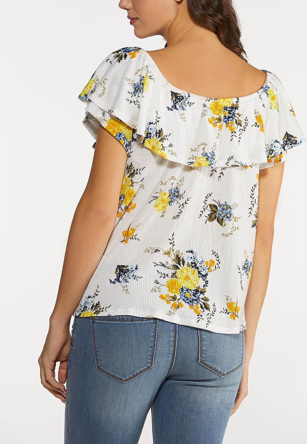 Plus Size Ruffled Gauze Floral Top (Item #44192064)