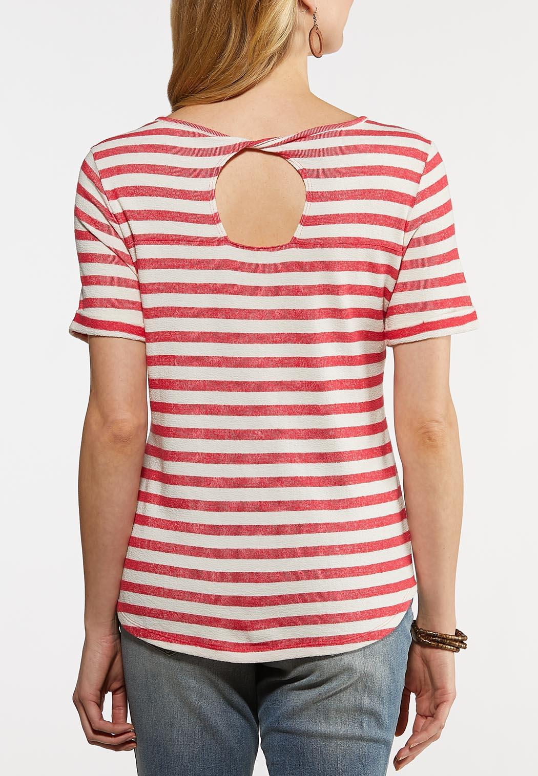 Plus Size Stripe Front Pocket Tee (Item #44192201)