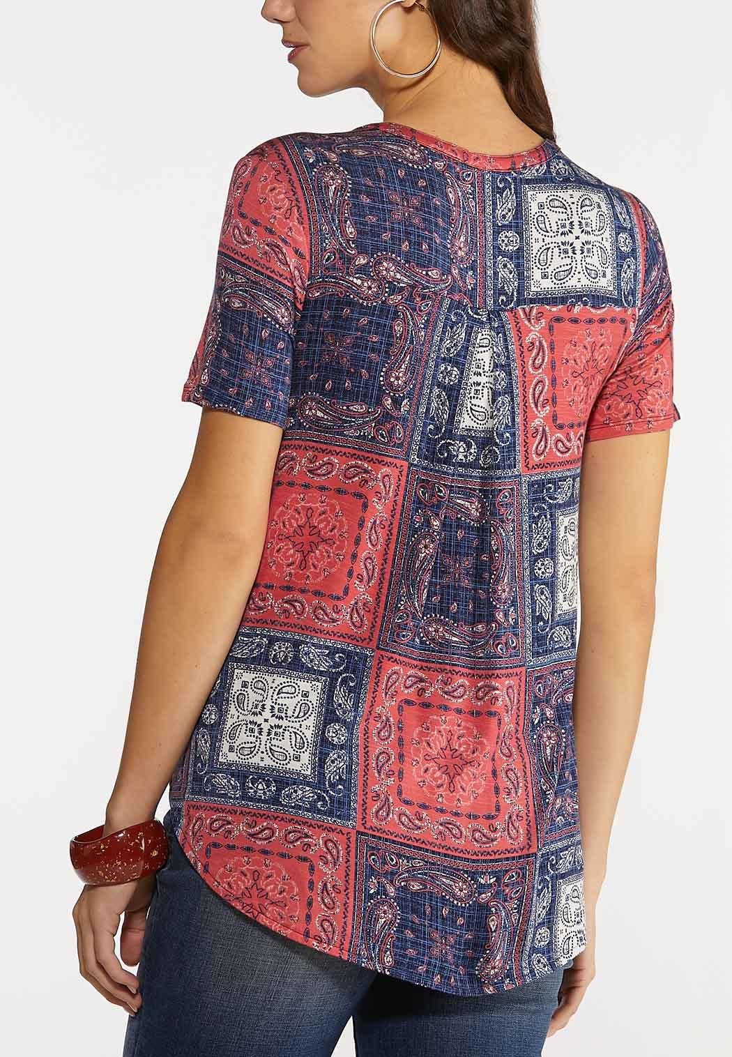 Plus Size Knotted Patchwork Paisley Top (Item #44192396)