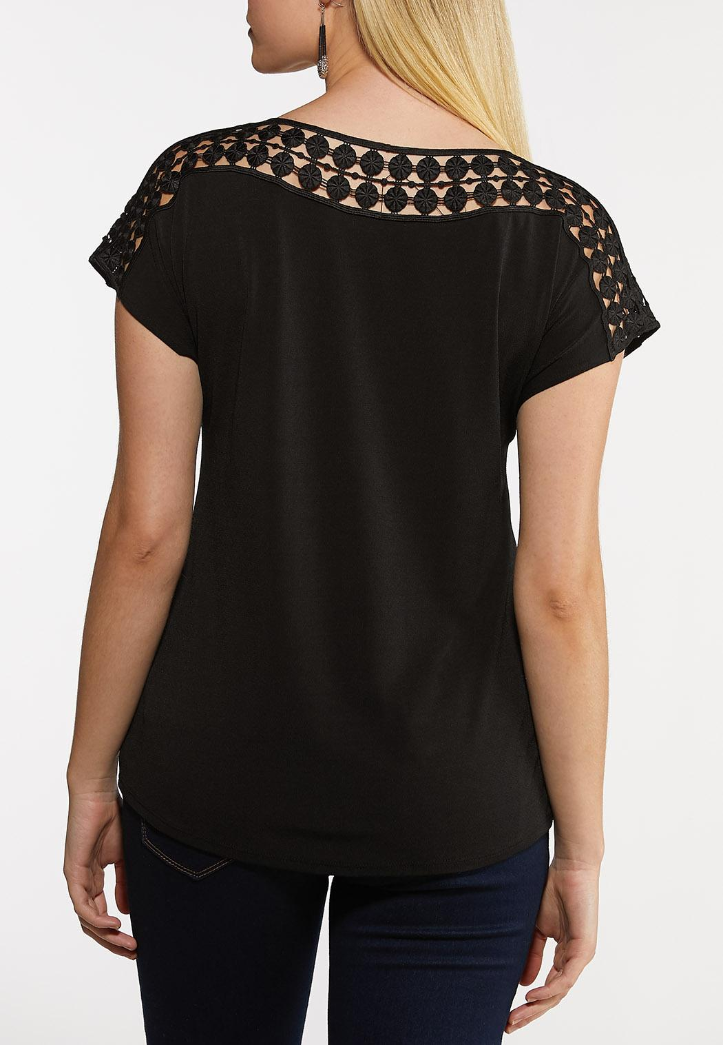 Black Crochet Neck Top (Item #44192515)