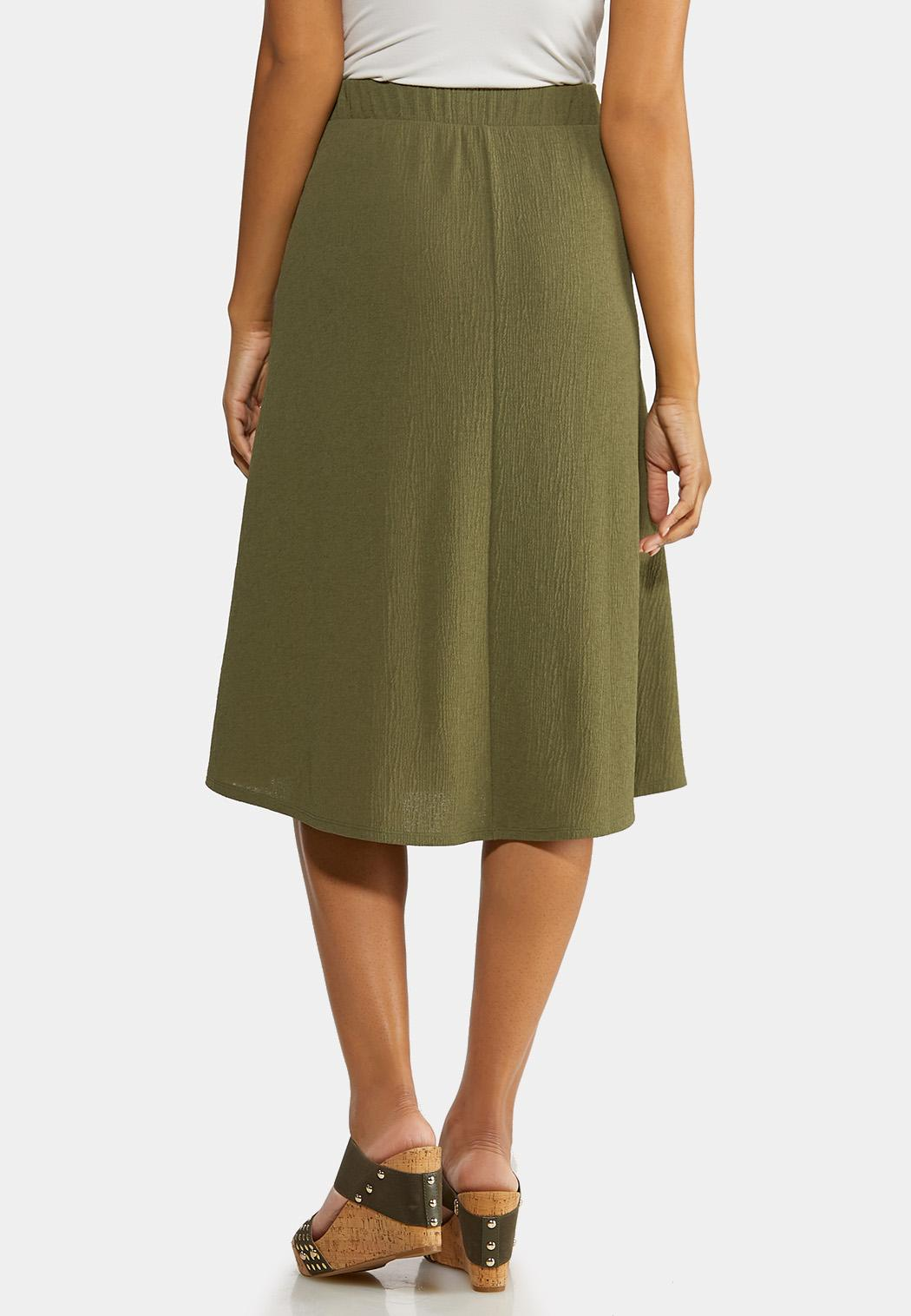 Olive Faux Wrap Skirt (Item #44192537)