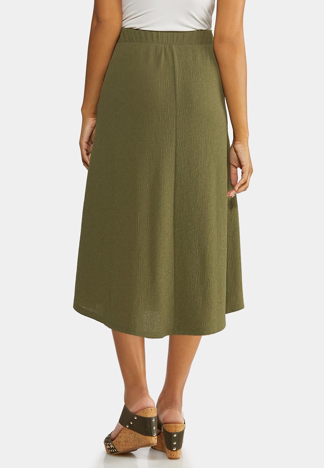 Plus Size Olive Faux Wrap Skirt (Item #44192574)