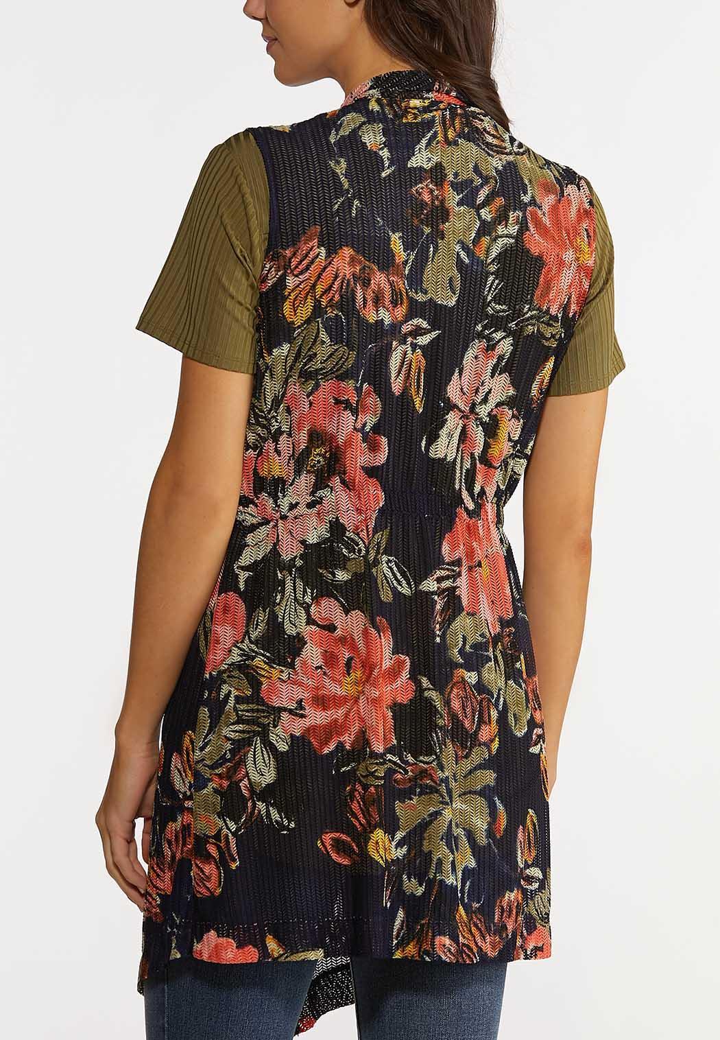 Plus Size Floral Mesh Vest (Item #44192605)