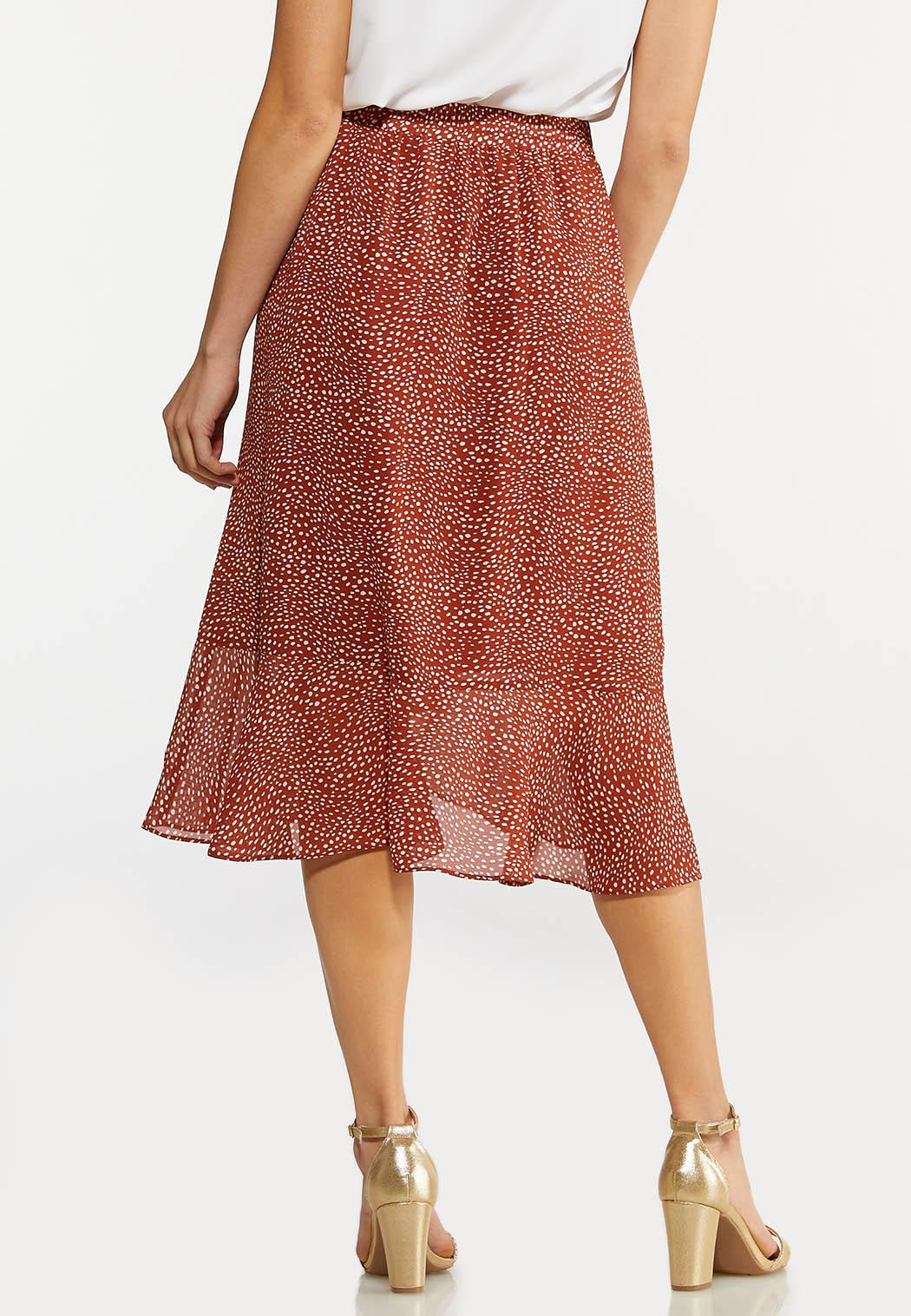 Plus Size Dotted Ruffled Wrap Skirt (Item #44193009)