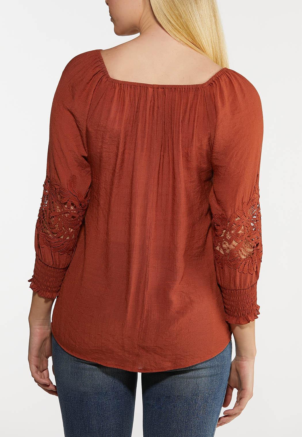 Plus Size Crochet Sleeve Poet Top (Item #44193303)