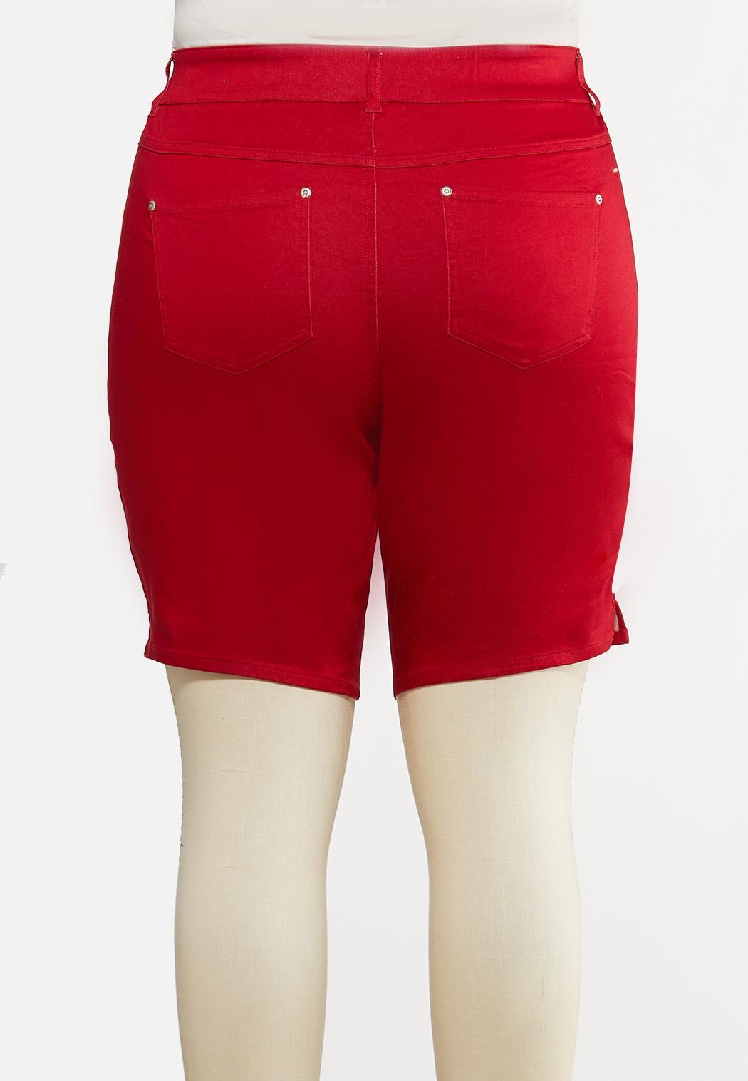 Plus Size Red Curvy Denim Shorts (Item #44193364)