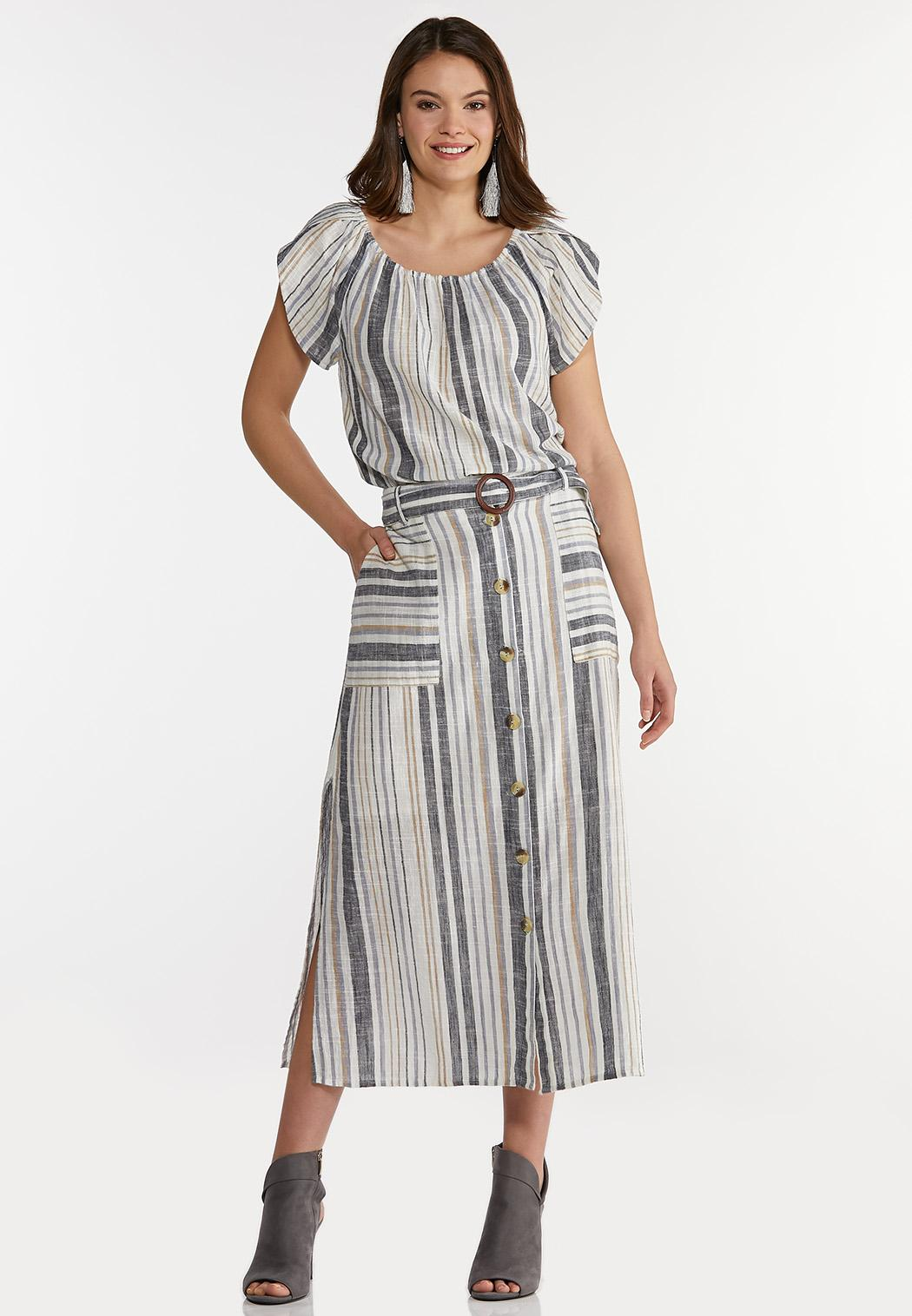 Tulip Sleeve Stripe Linen Top (Item #44193401)