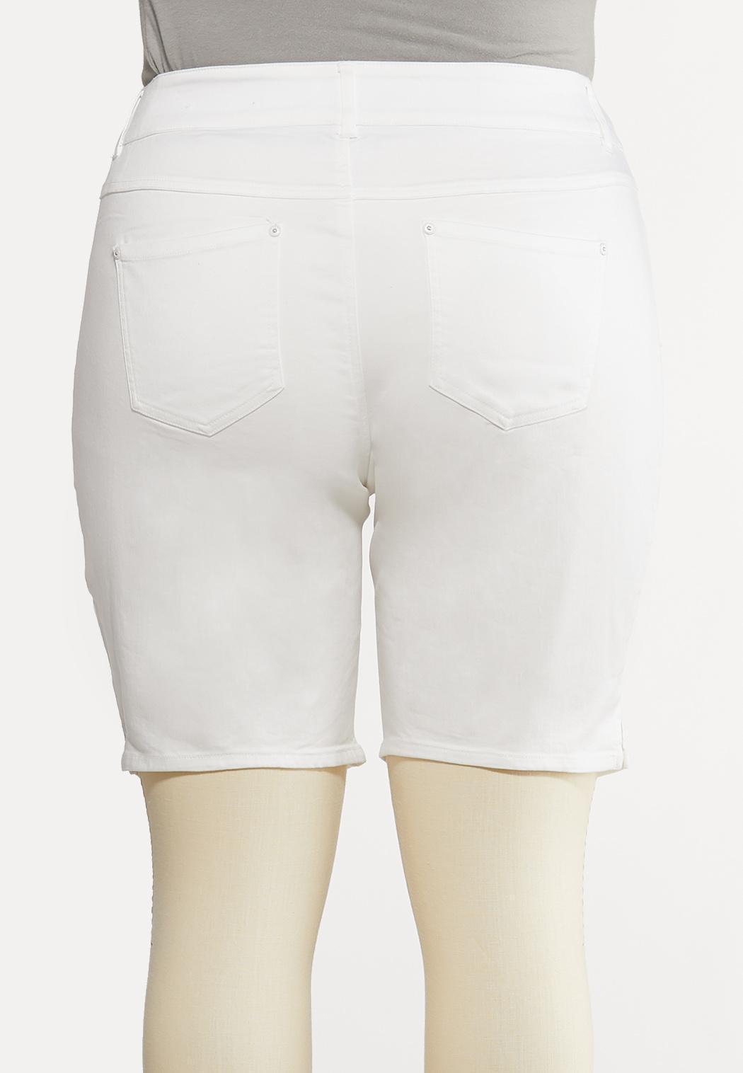 Plus Size White Denim Shorts (Item #44193424)