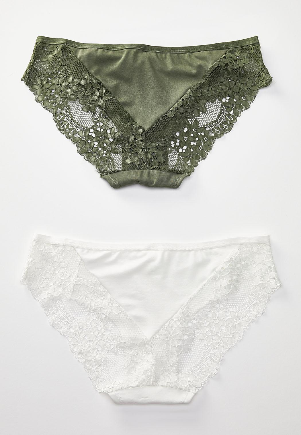 White and Olive Panty Set  (Item #44193443)