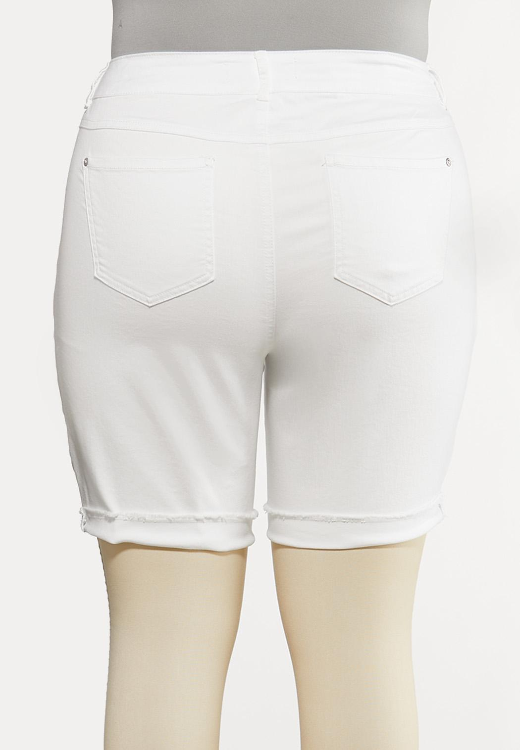 Plus Size White Distressed Shorts (Item #44193462)