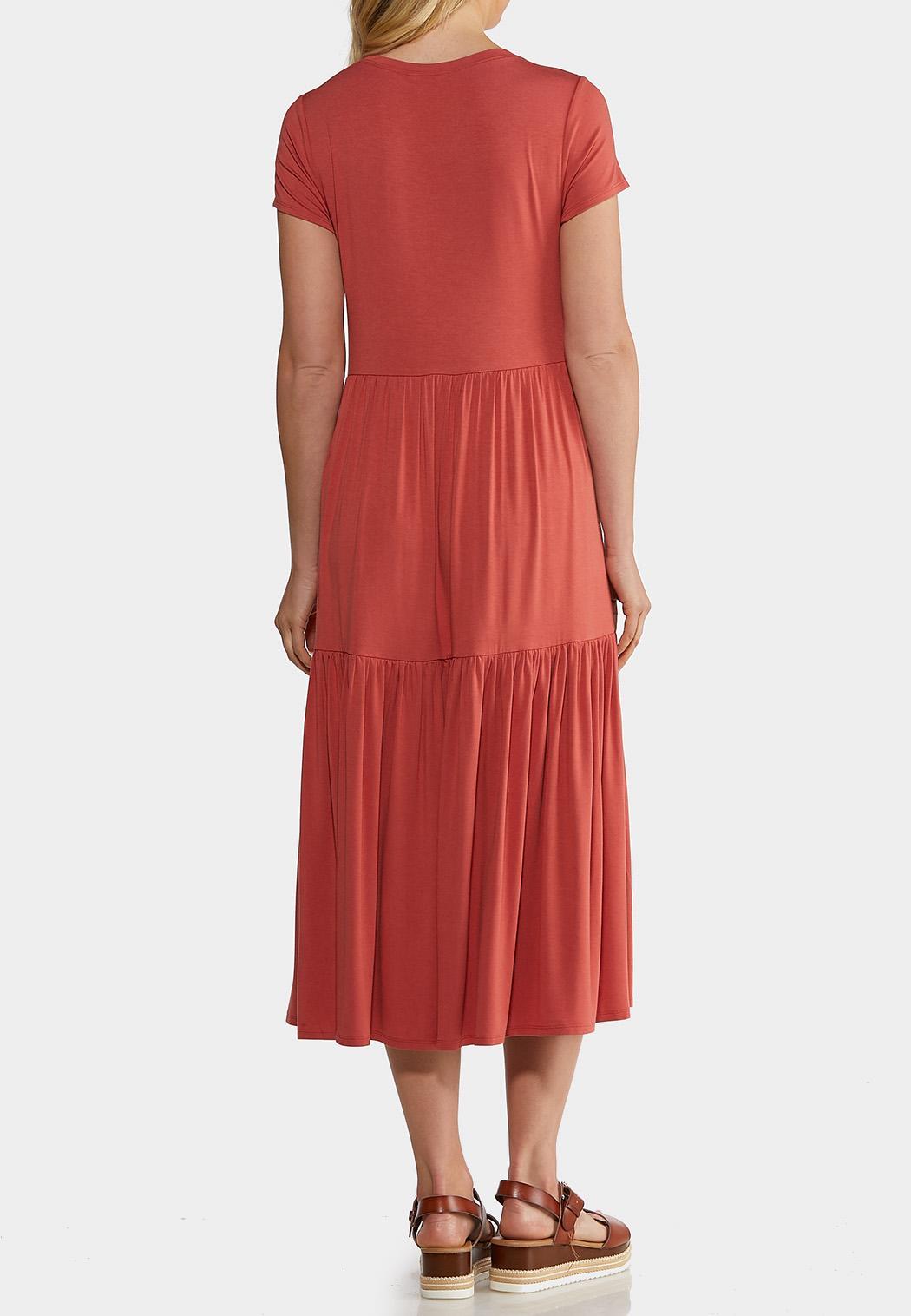 Plus Size Casual Tiered Midi Dress (Item #44194118)
