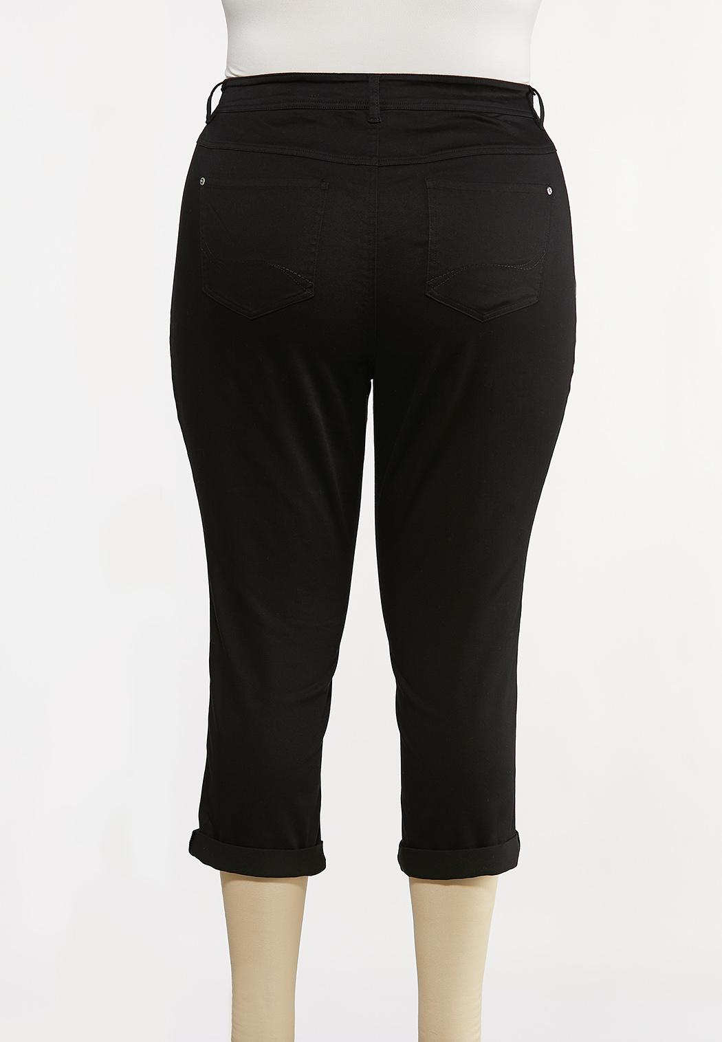 Plus Size Cropped Skinny Black Jeans (Item #44194119)