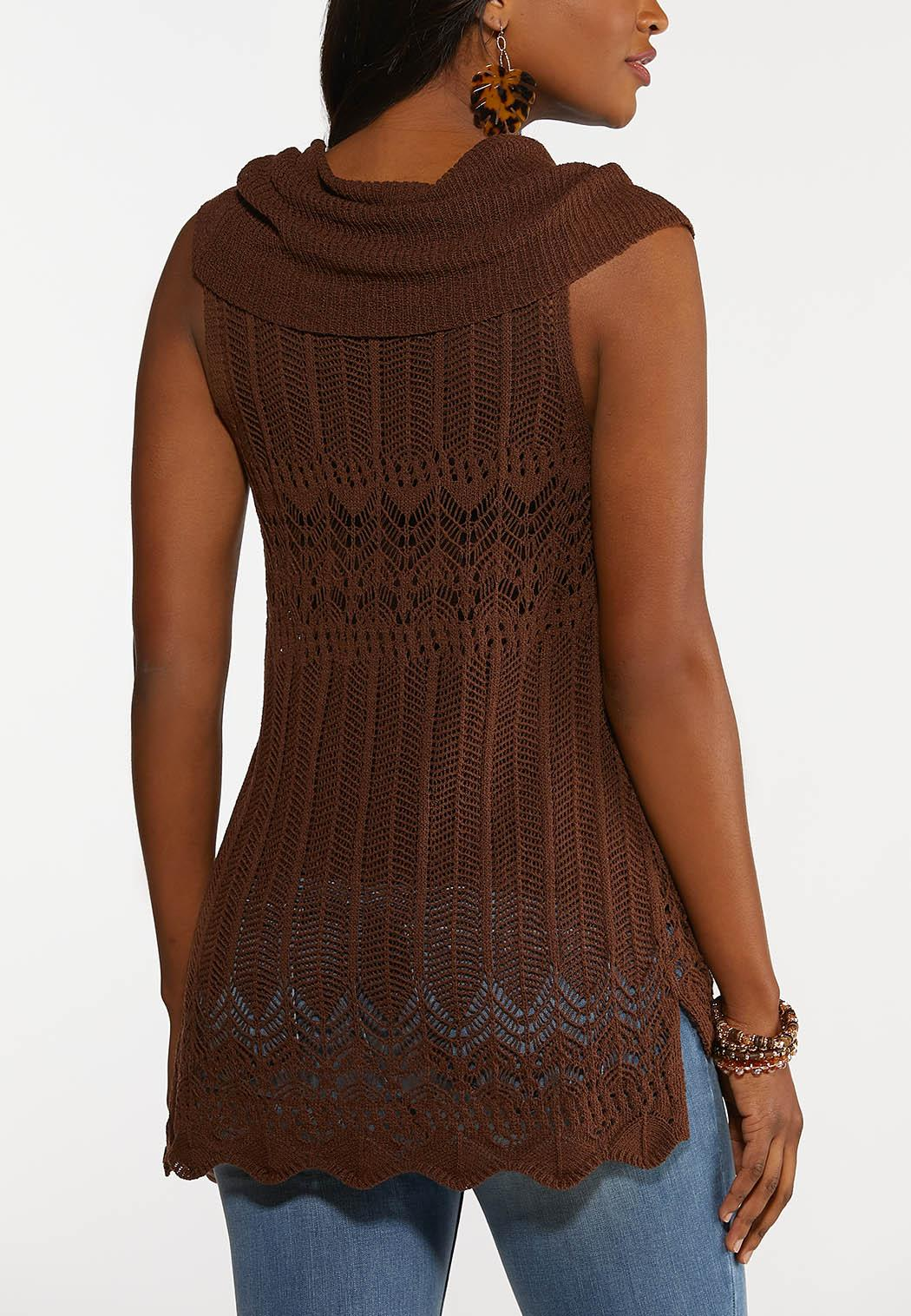 Plus Size Brown Cowl Neck Sweater (Item #44194198)