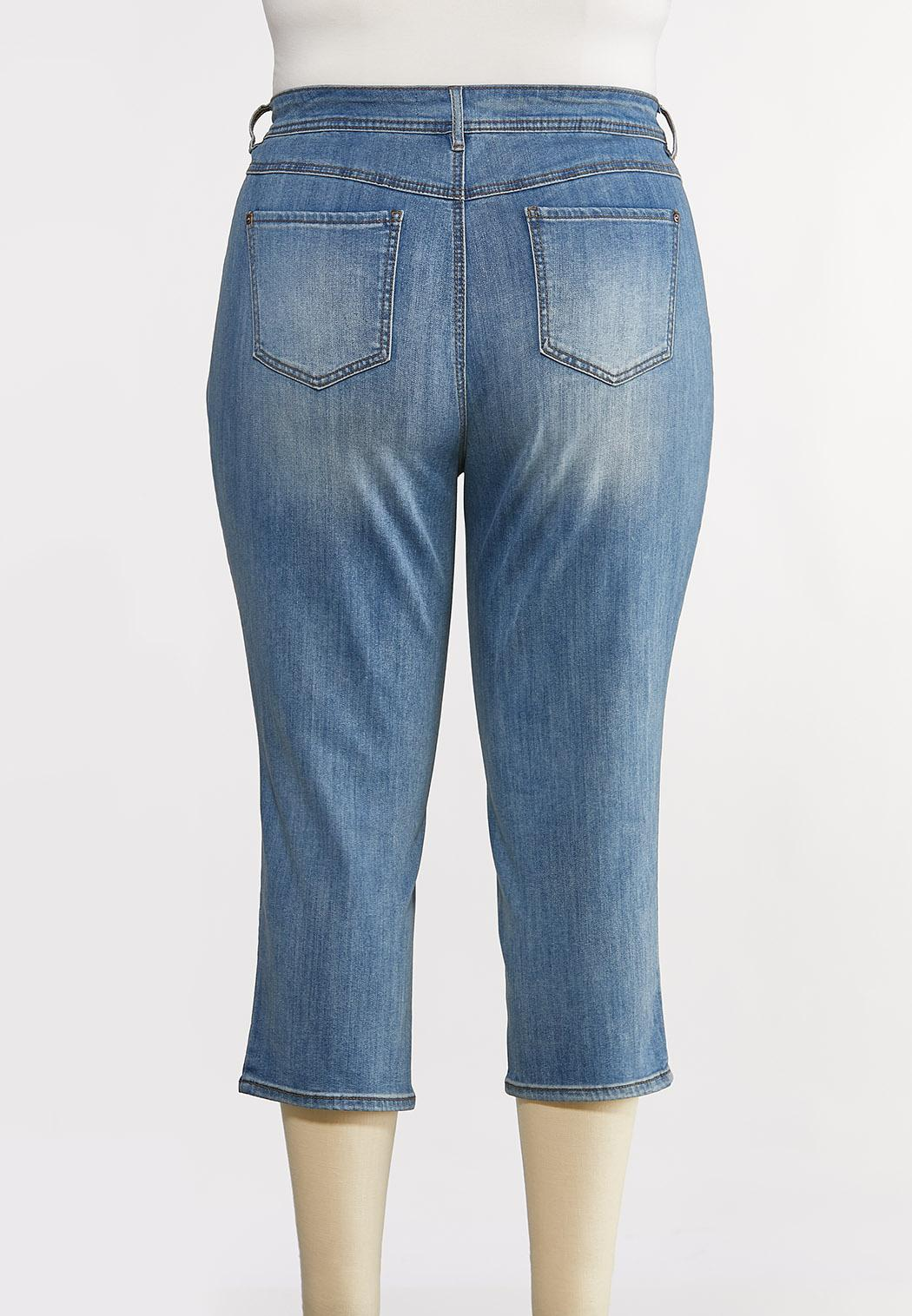Plus Size Cropped Distressed Skinny Jeans (Item #44194364)